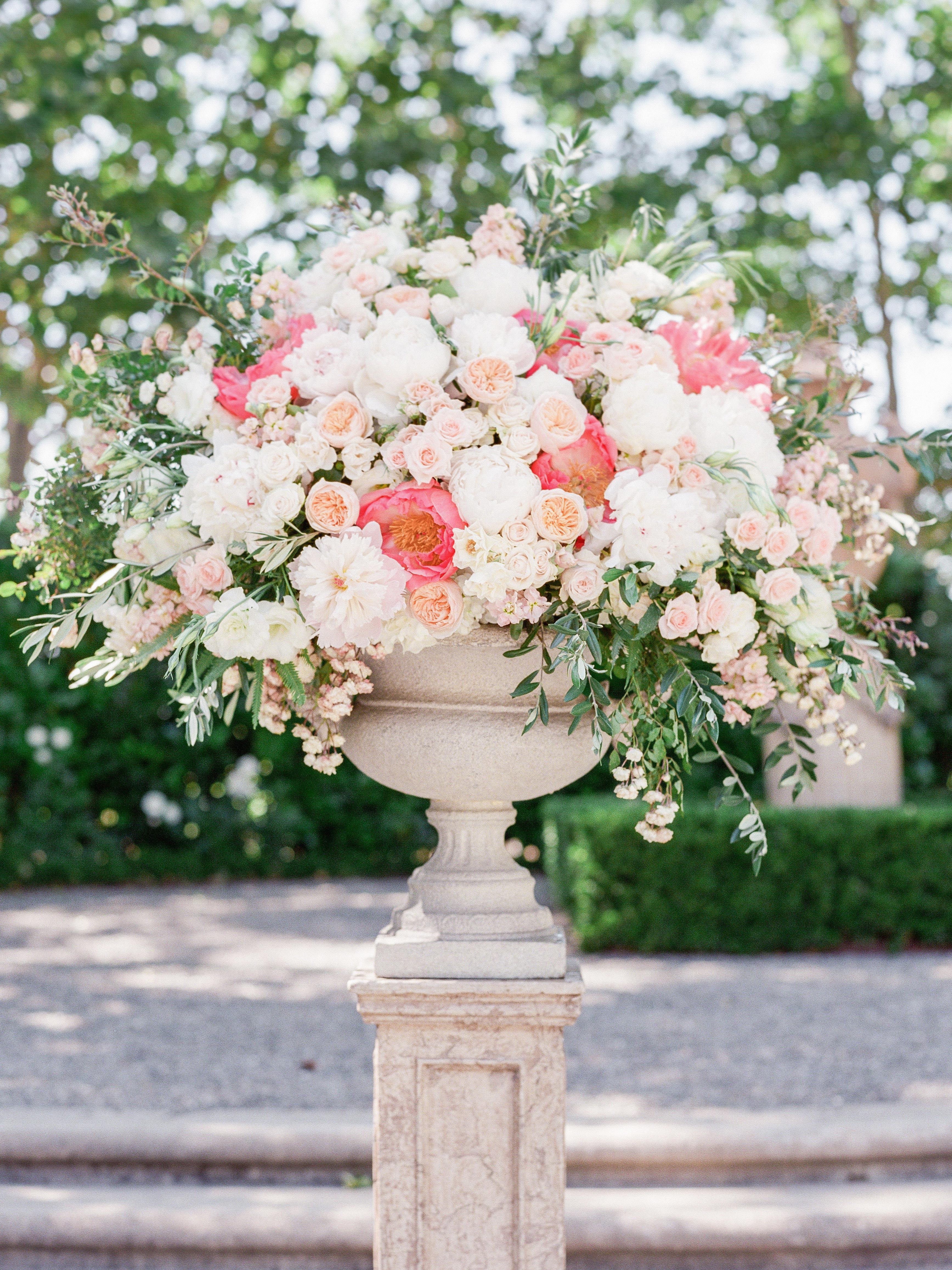 pink white floral centerpiece