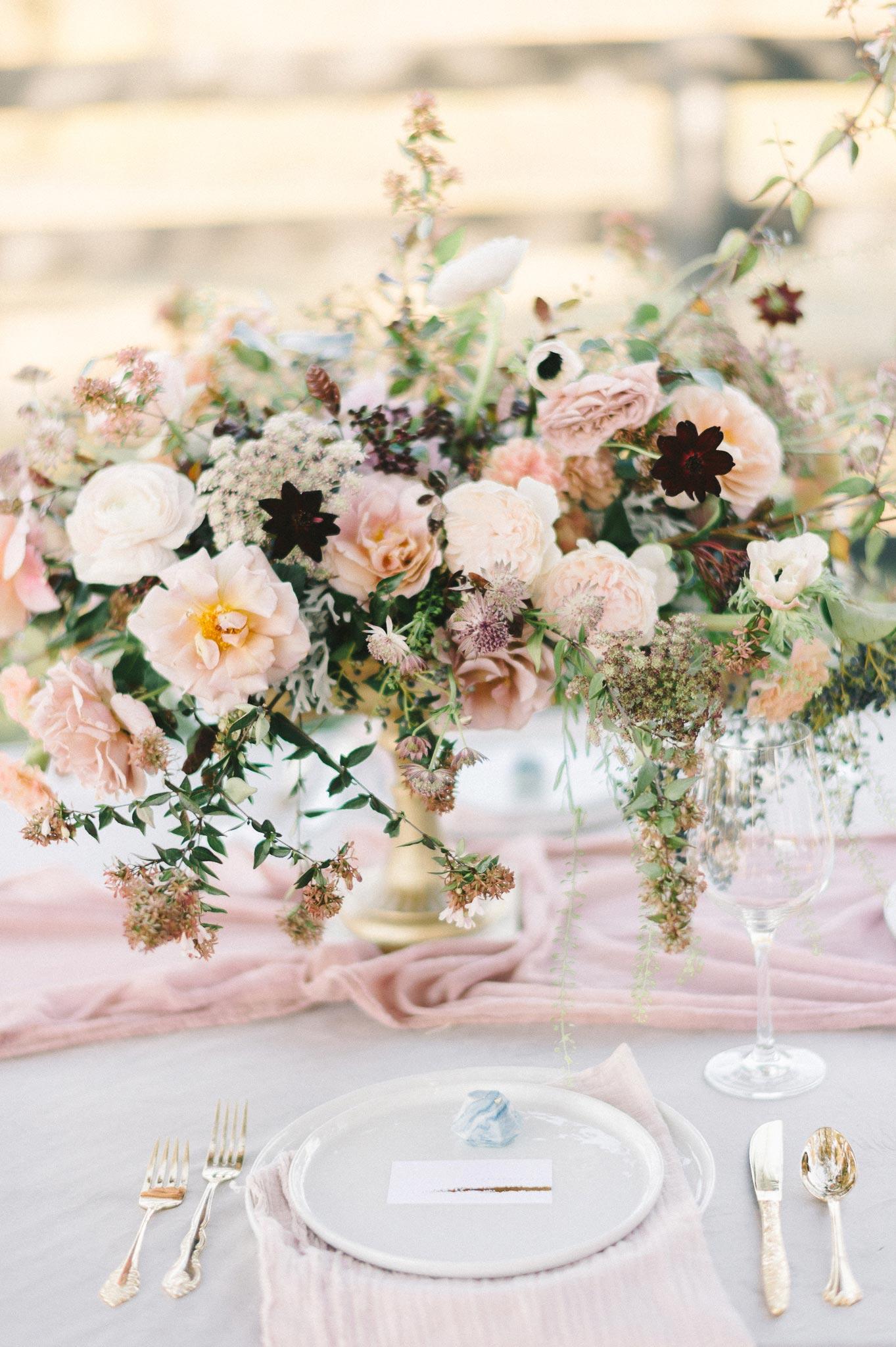 pale pink floral centerpiece