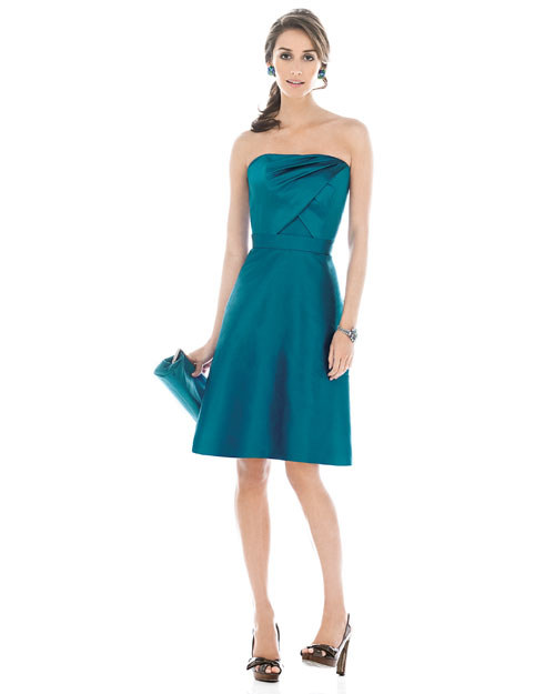 Short Teal Bridesmaid Dress