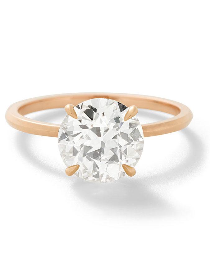 round cut ring rose gold band