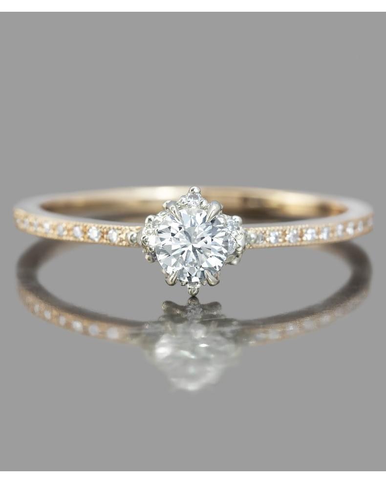 round cut ring rose gold diamond set band