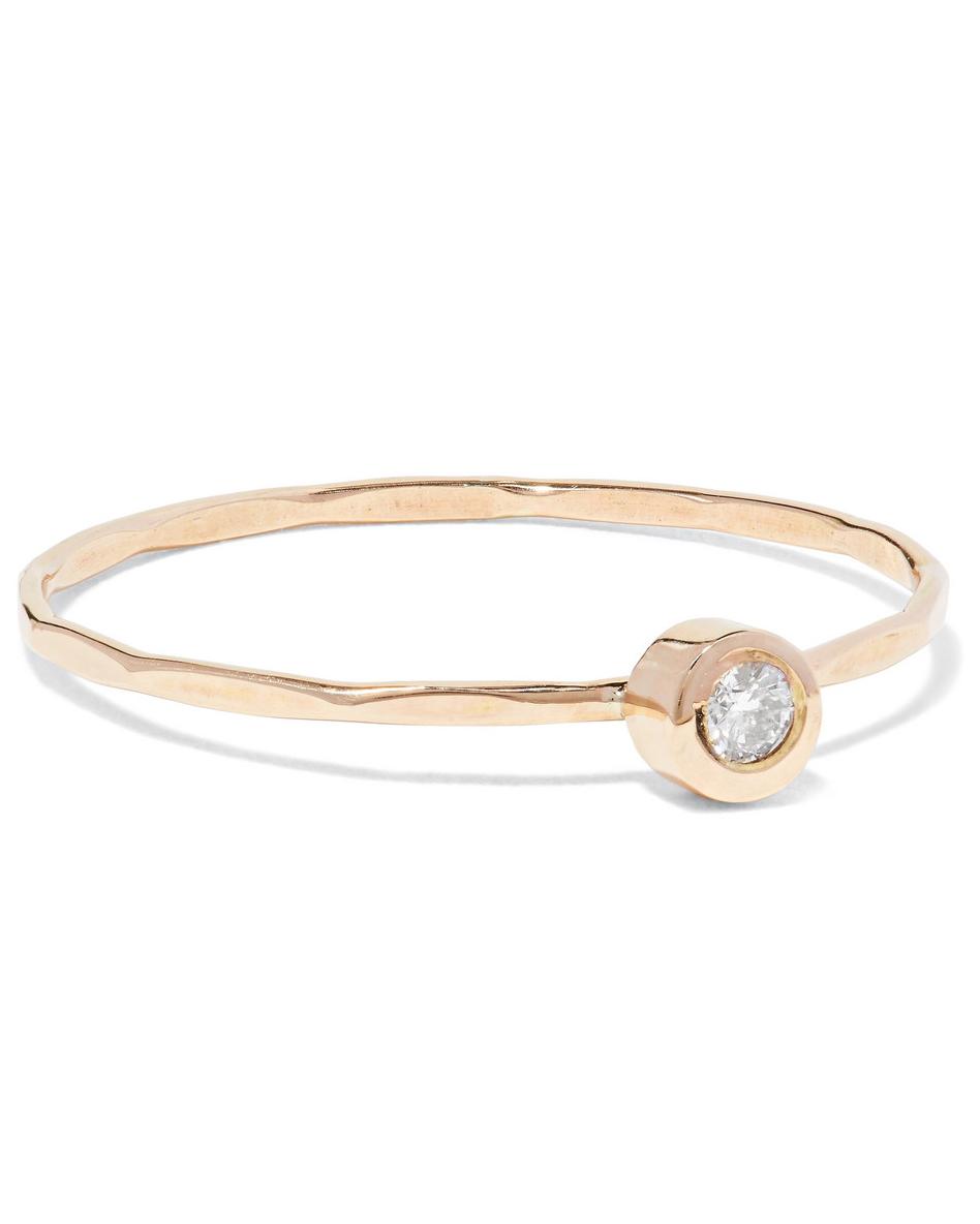 round cut ring minimal thin hammered gold band