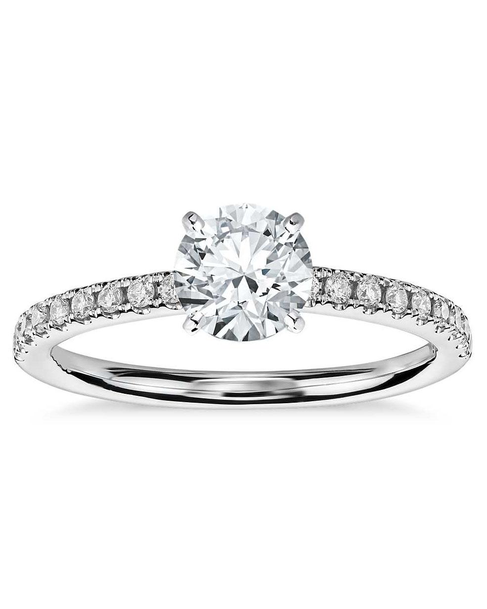 round cut ring platinum diamond set band