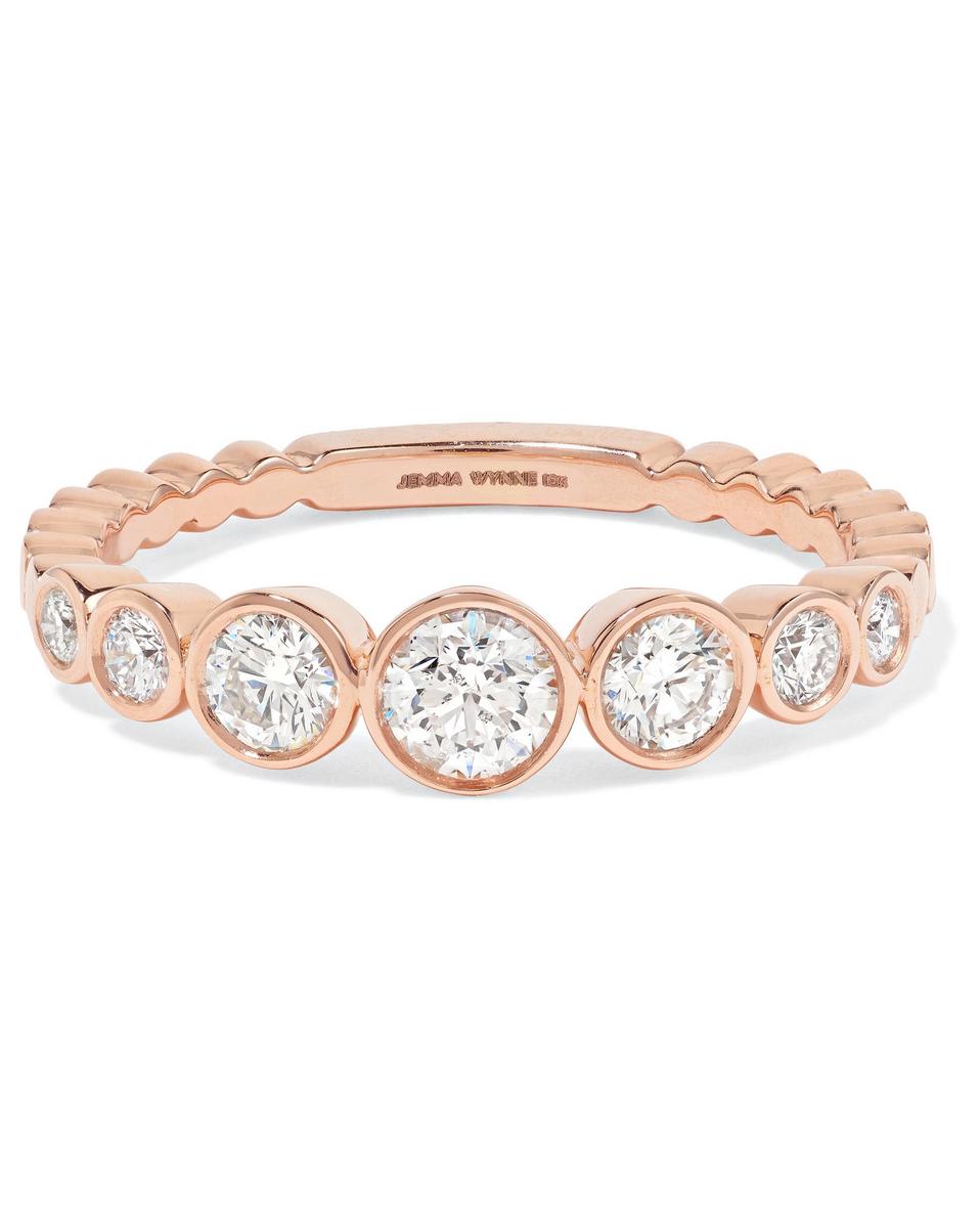 round cut ring rose gold diamond band