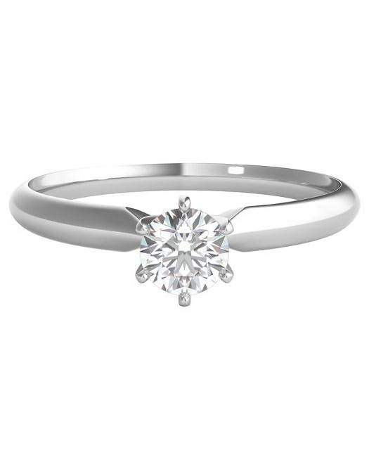 round cut ring white gold band