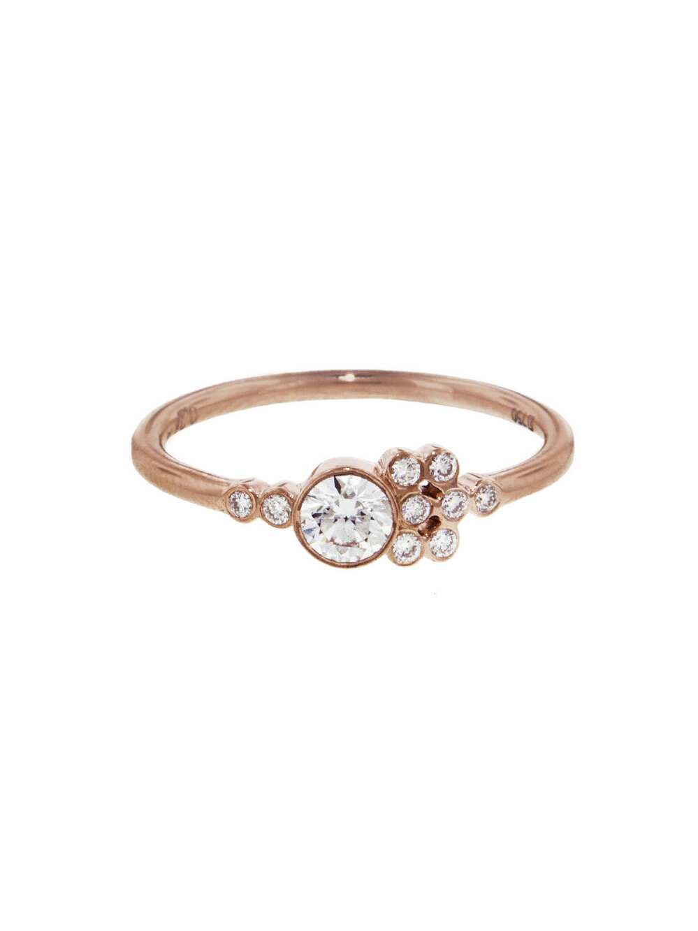 round cut ring rose gold band with asymmetrical diamond clusters