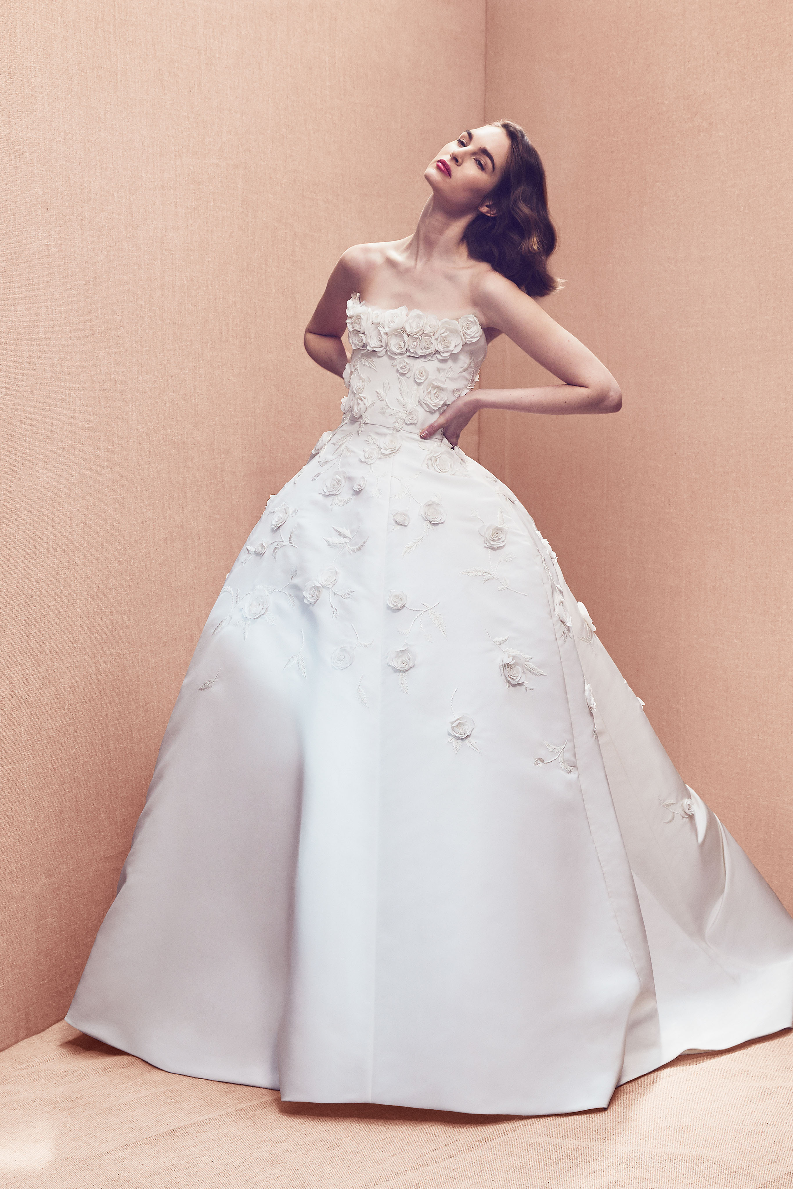 strapless straight across floral applique ball gown wedding dress Oscar de la Renta Spring 2020