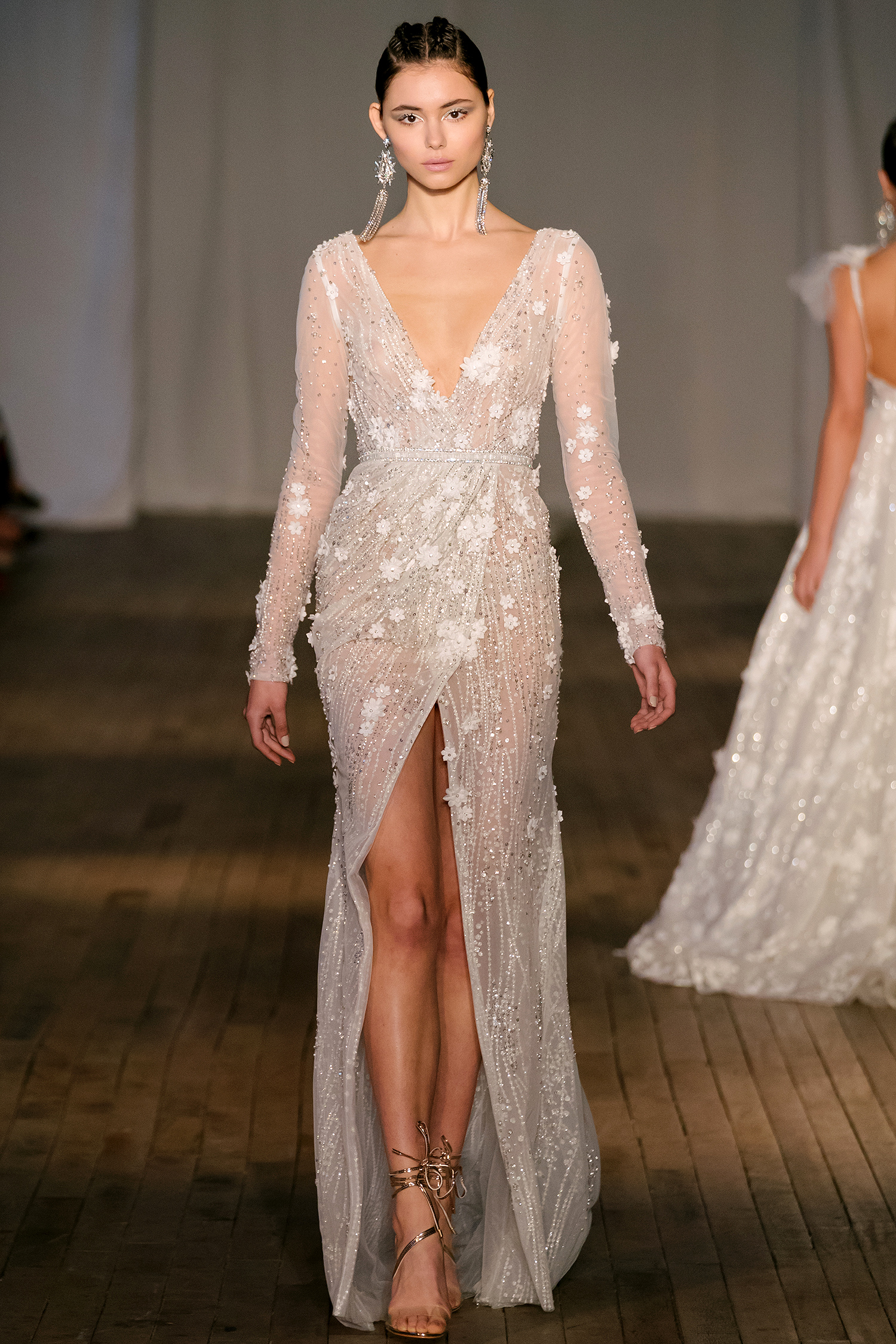 berta wedding dress spring 2019 floral applique wrap front slit