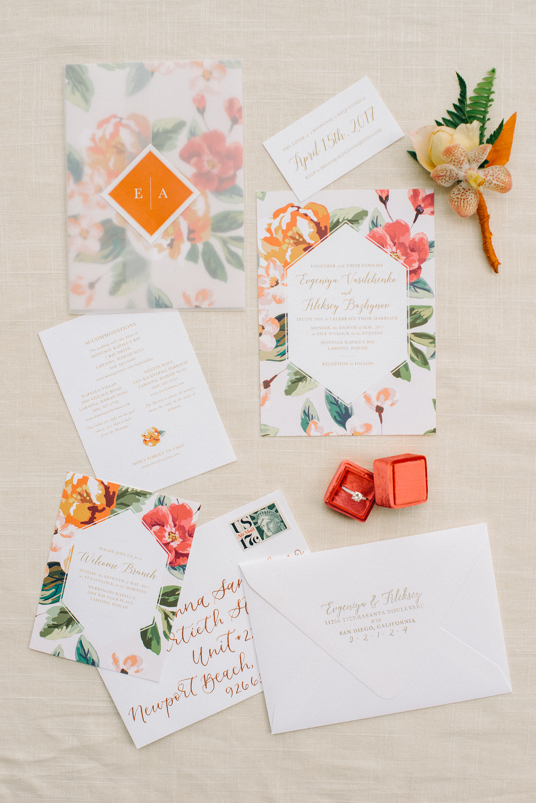 floral stationery with geometric design and vellum