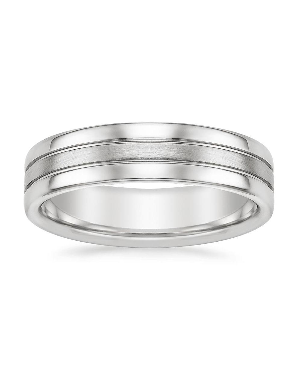 silver stripe wedding band