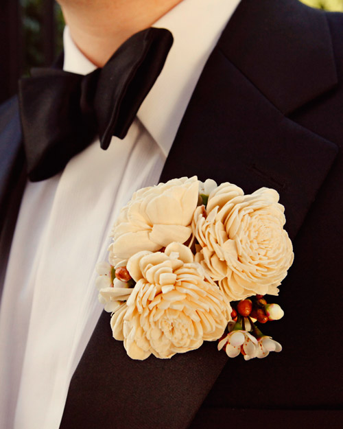 White Wooden Boutonniere