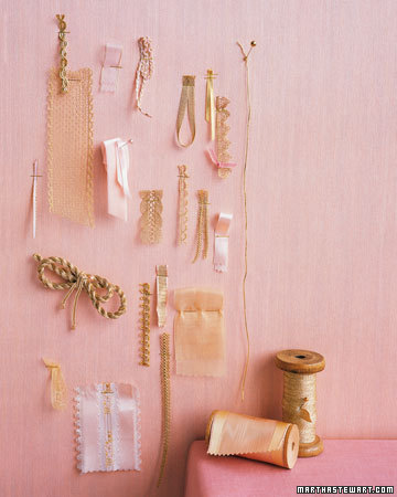 Pink and Gold Ribbons and Accents