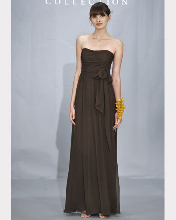 Brown Strapless Long Dress