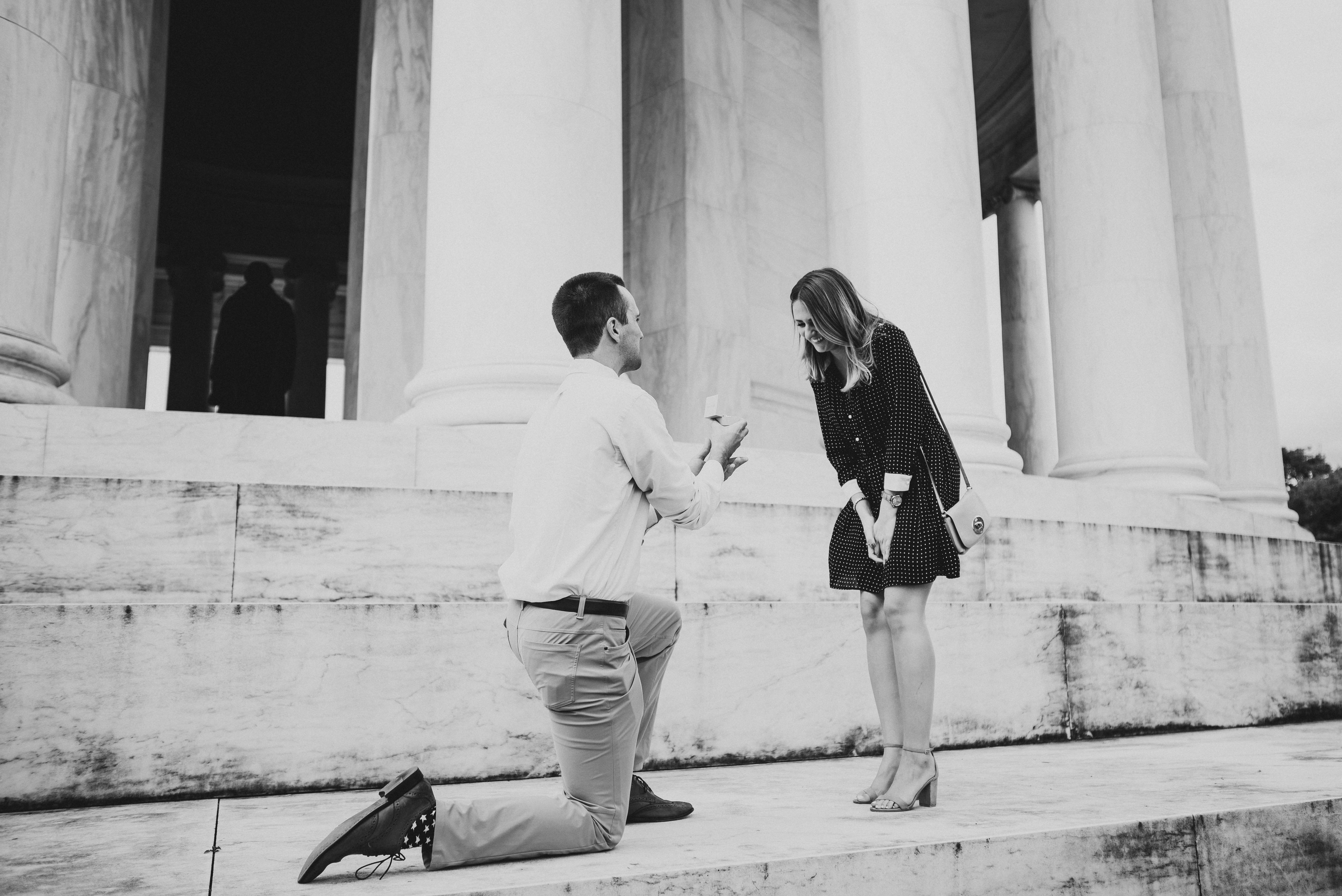 perfect proposals at memorial building steps