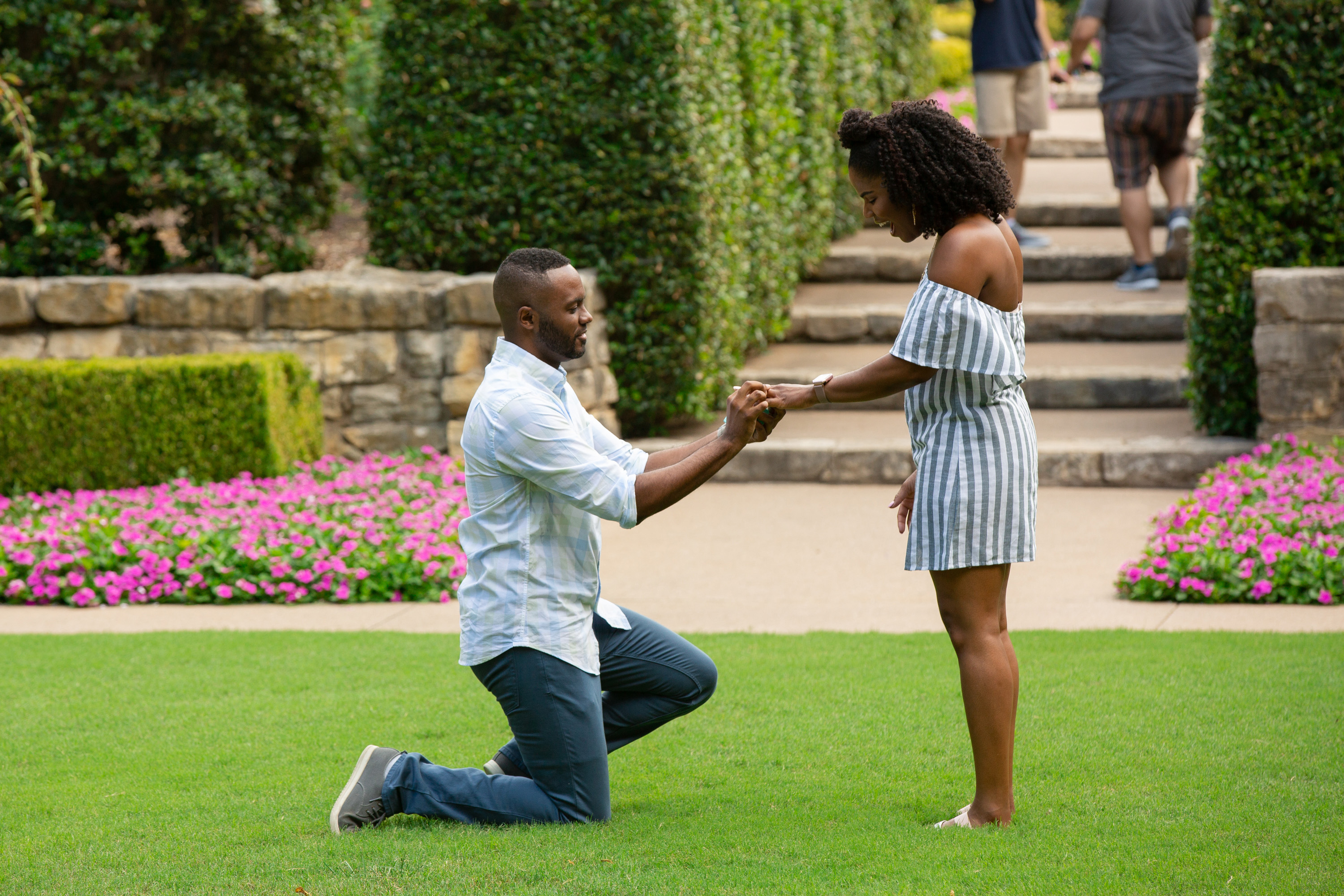 perfect proposals garden grass area with steps