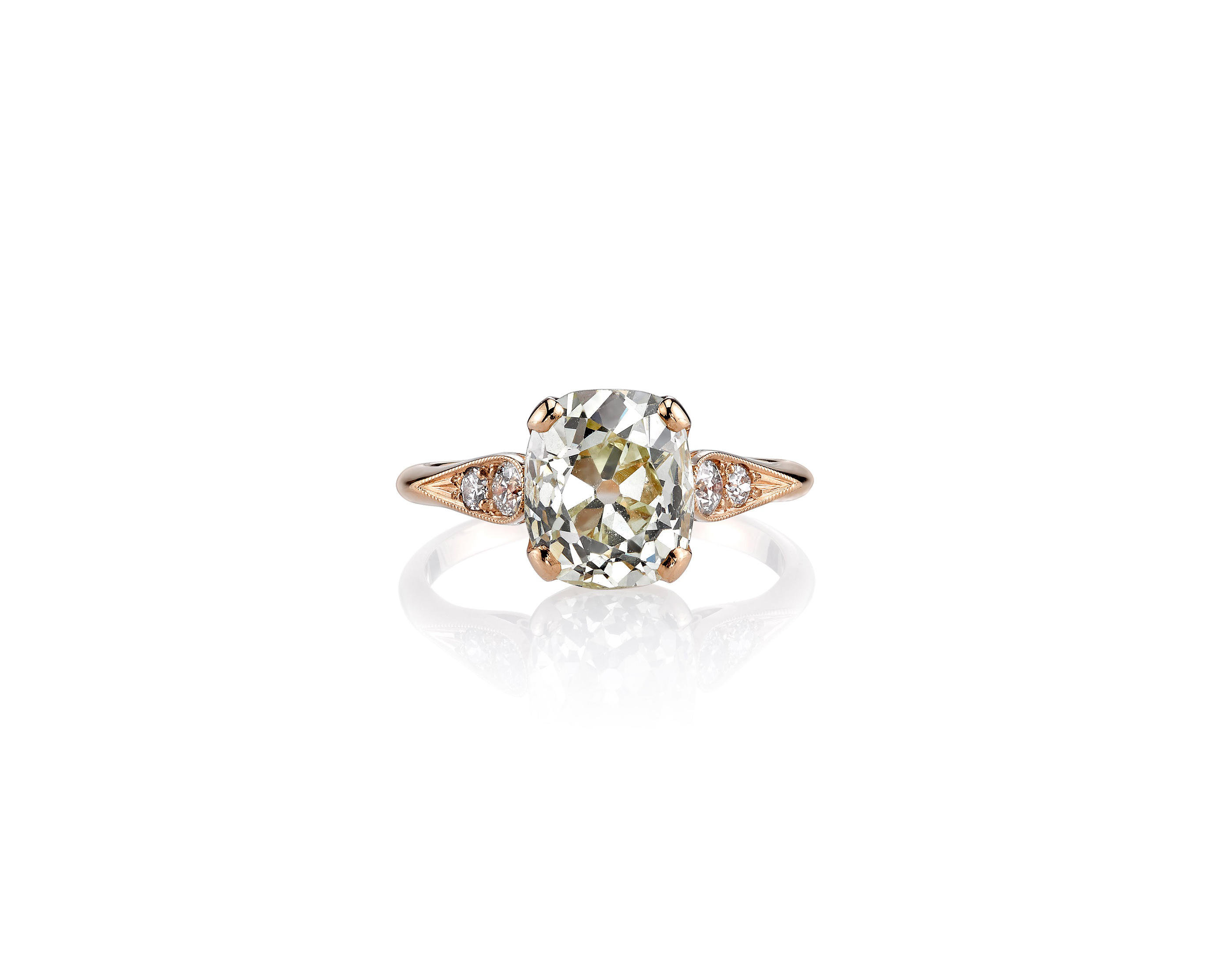 single stone cushion cut vintage engagement ring rose gold