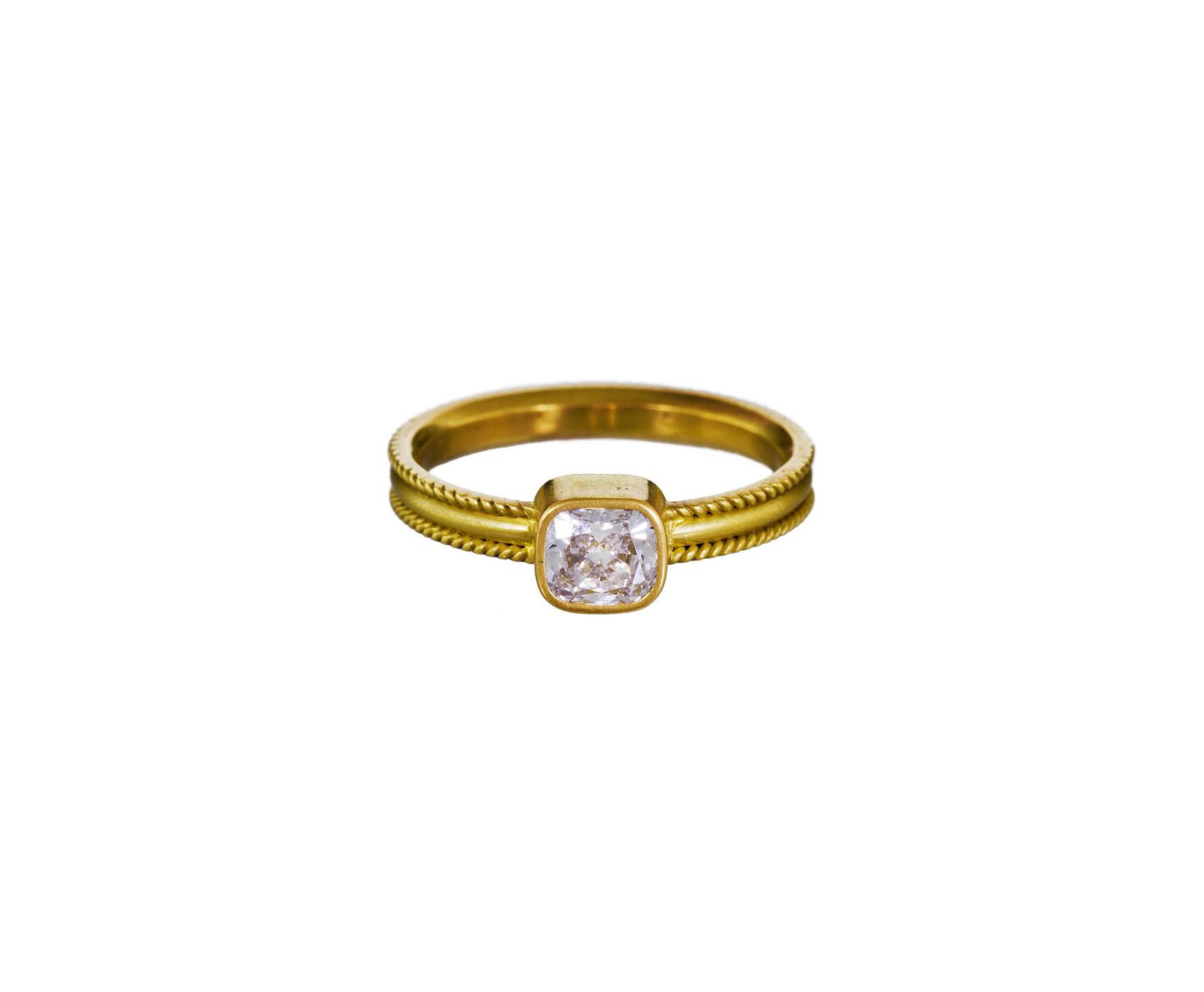 reinstein ross cushion cut diamond engagement ring gold band
