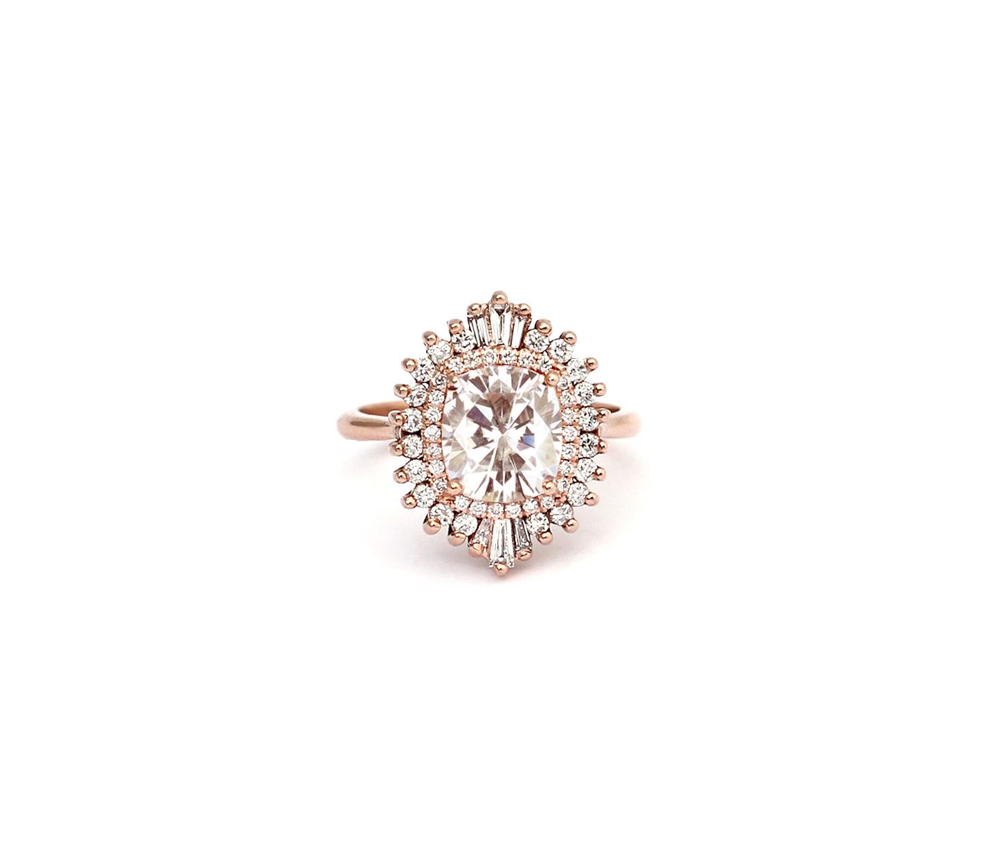 heidi gibson Rockefeller engagement ring cushion cut starburst diamonds rose gold