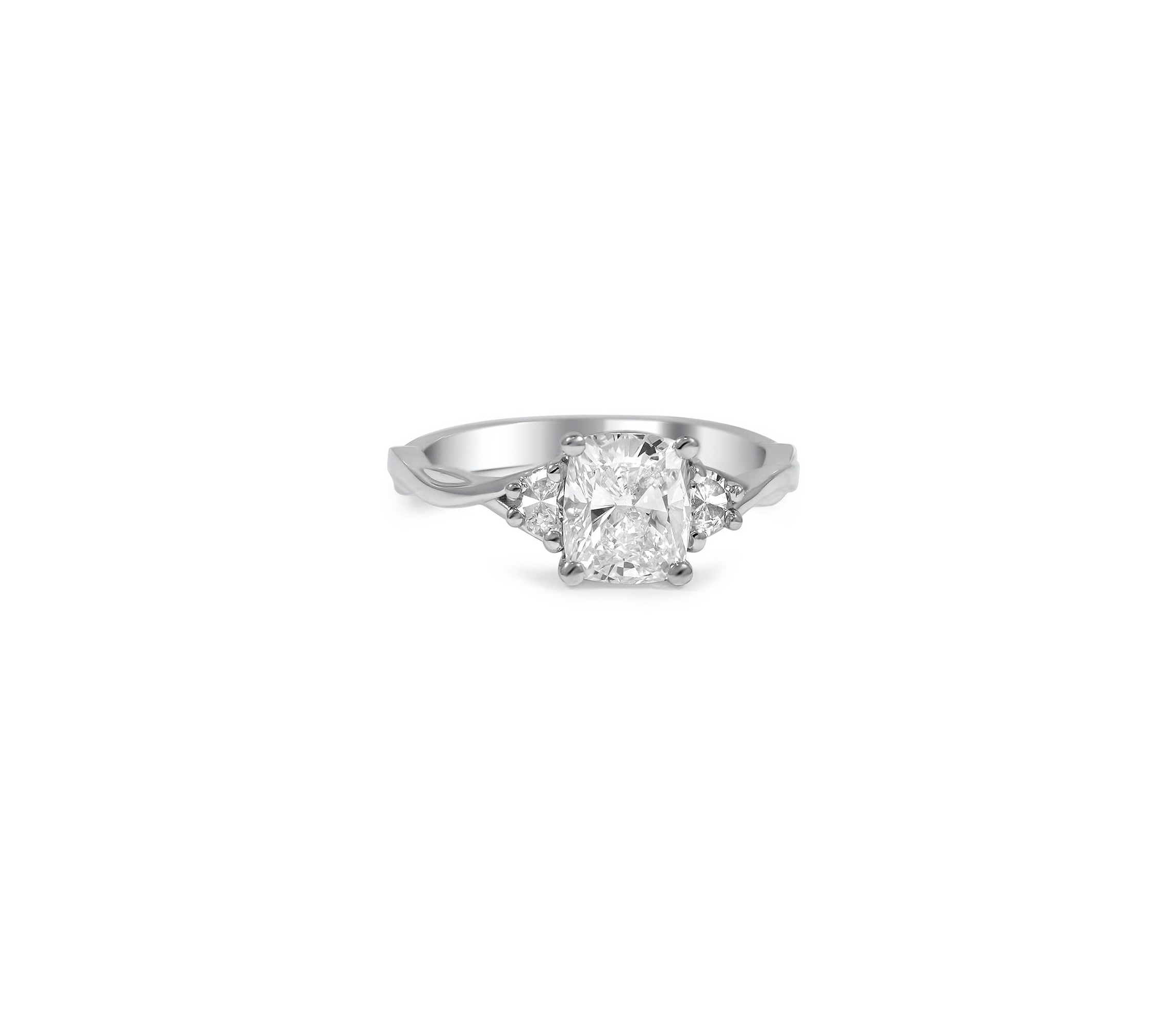 brilliant earth cushion cut diamond engagement ring with twisted band