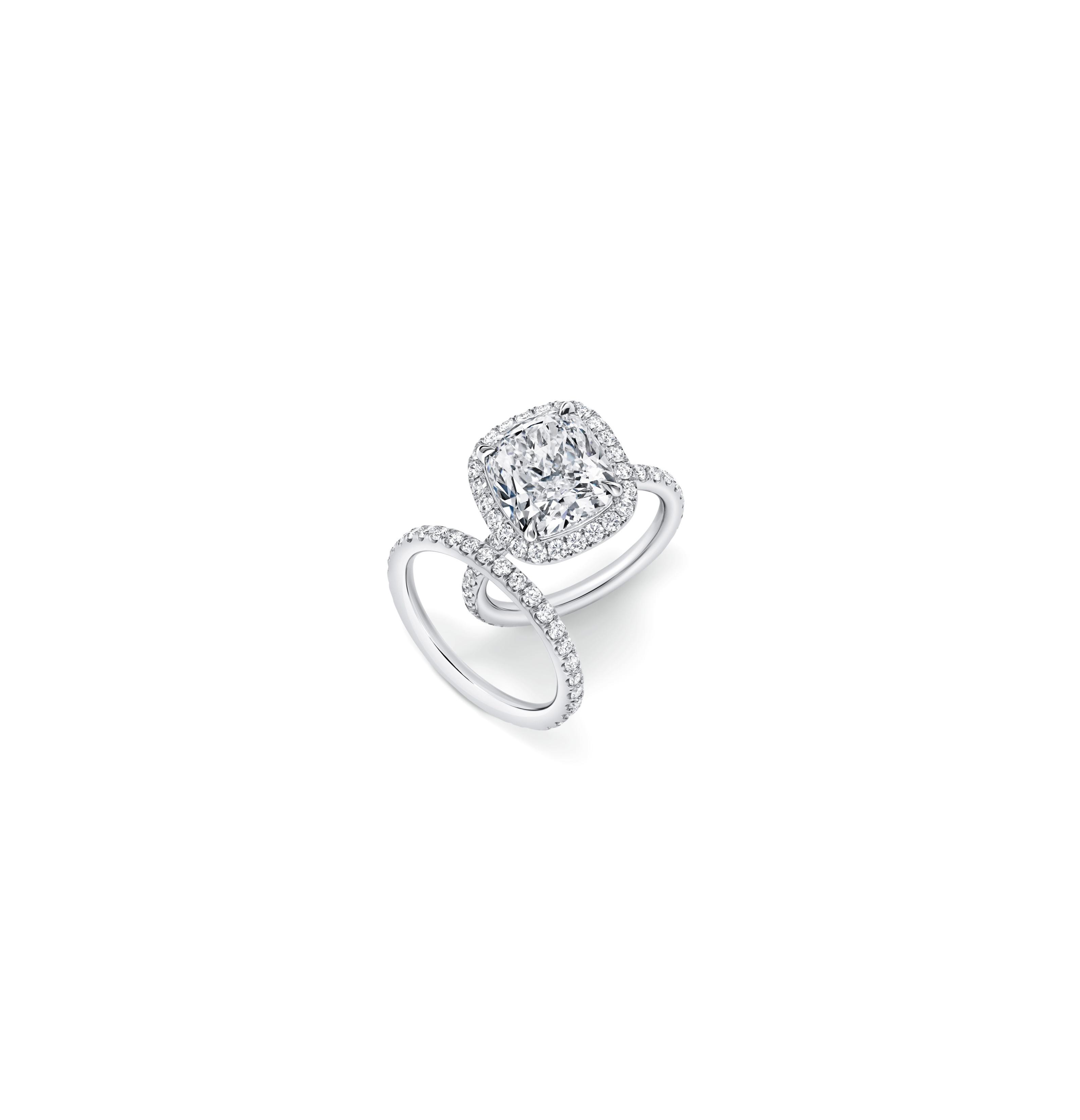 harry winston cushion cut diamond engagement ring micropave band