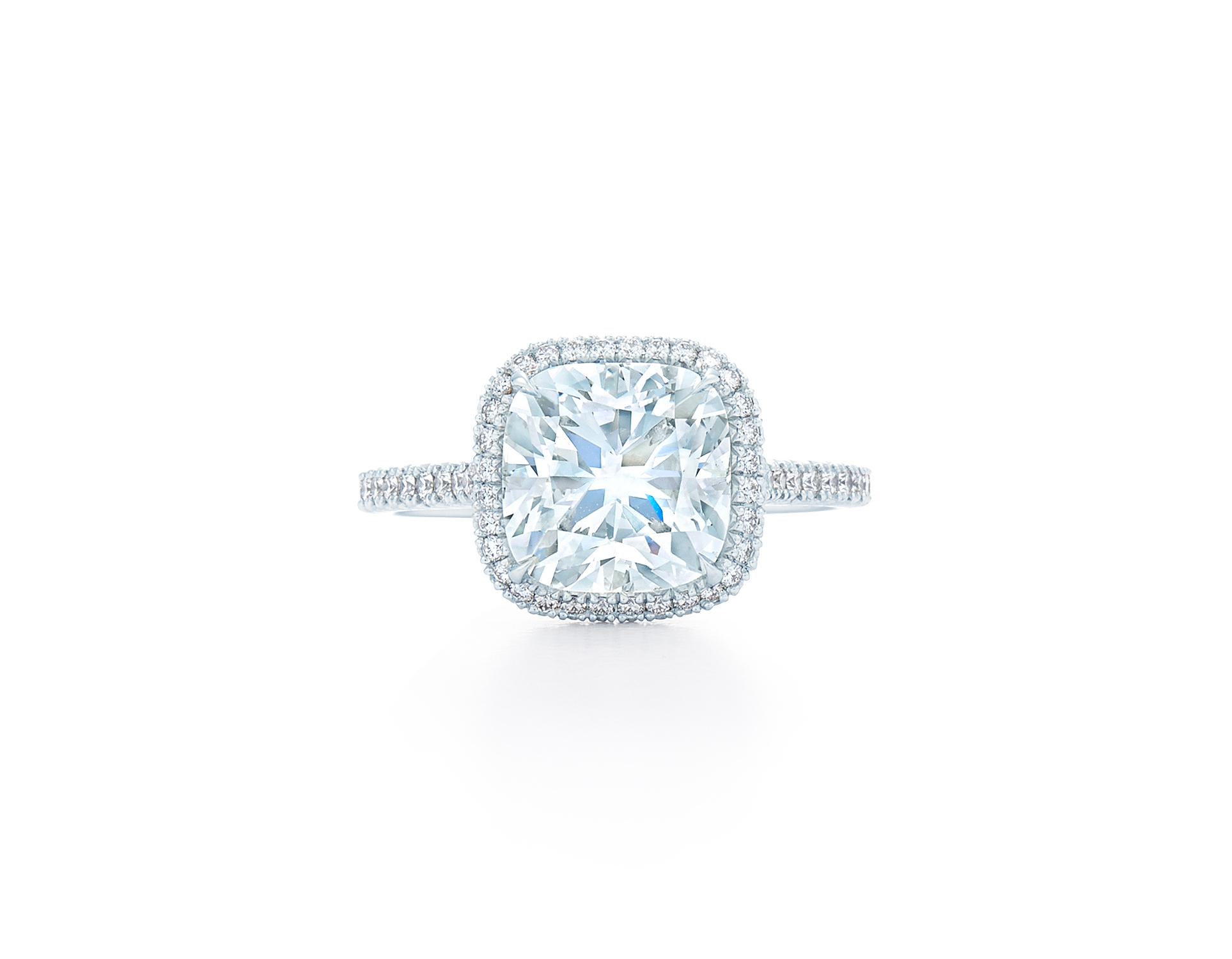 kwiat cushion cut diamond square halo pave band engagement ring