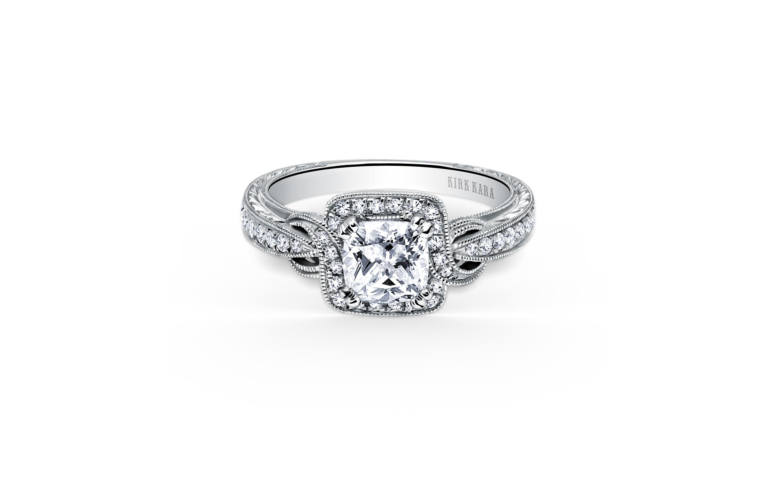 kirk kara cushion cut diamond engagement ring pirouette style