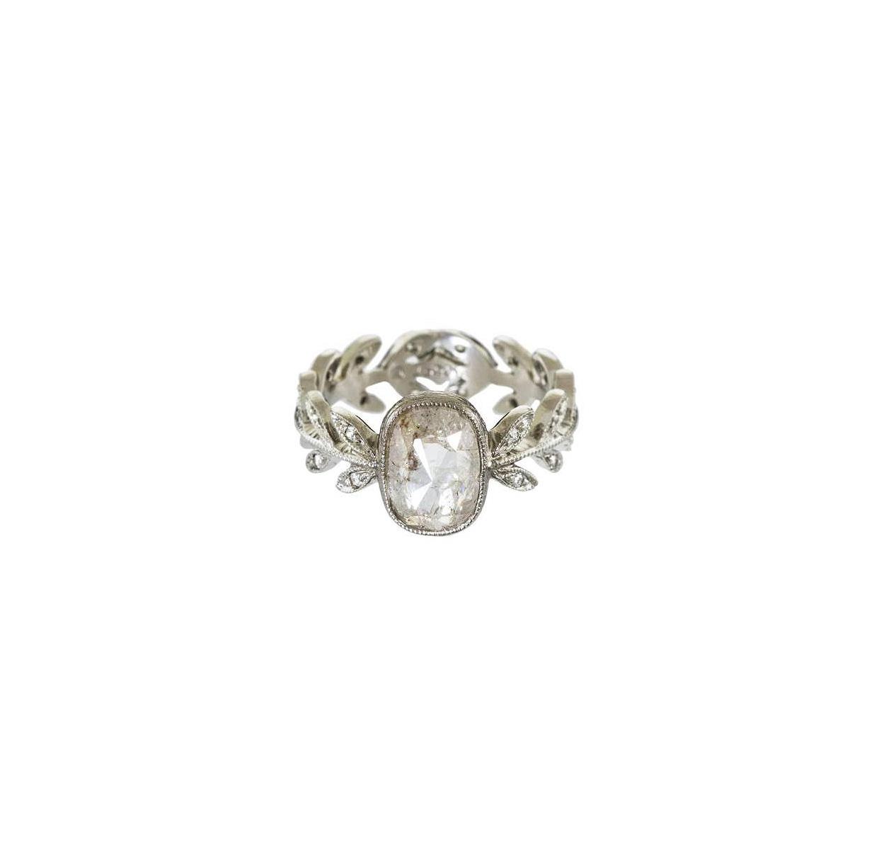 cathy waterman cushion cut diamond engagement ring floral band