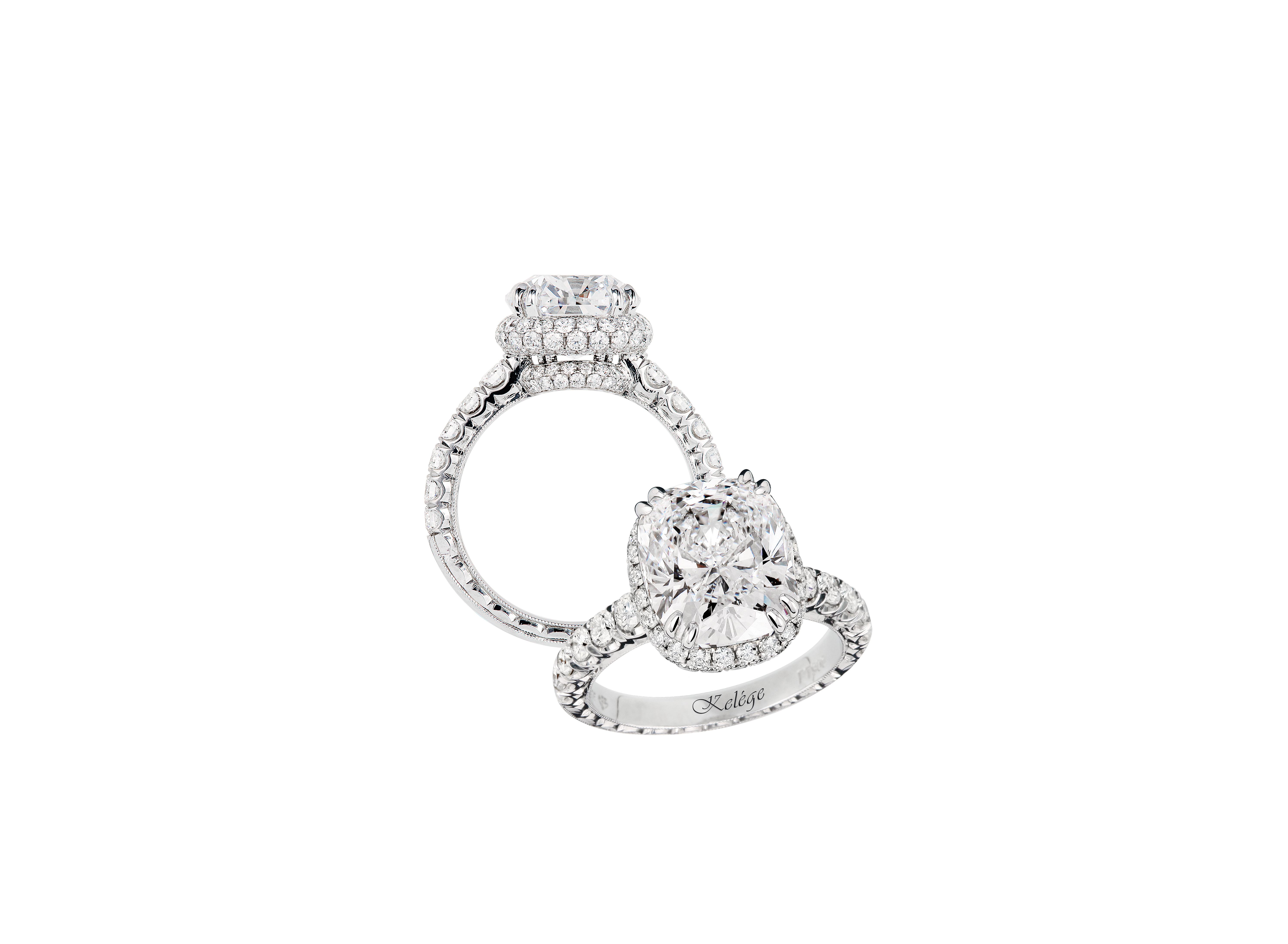 jack kelege cushion cut engagement ring with round stones