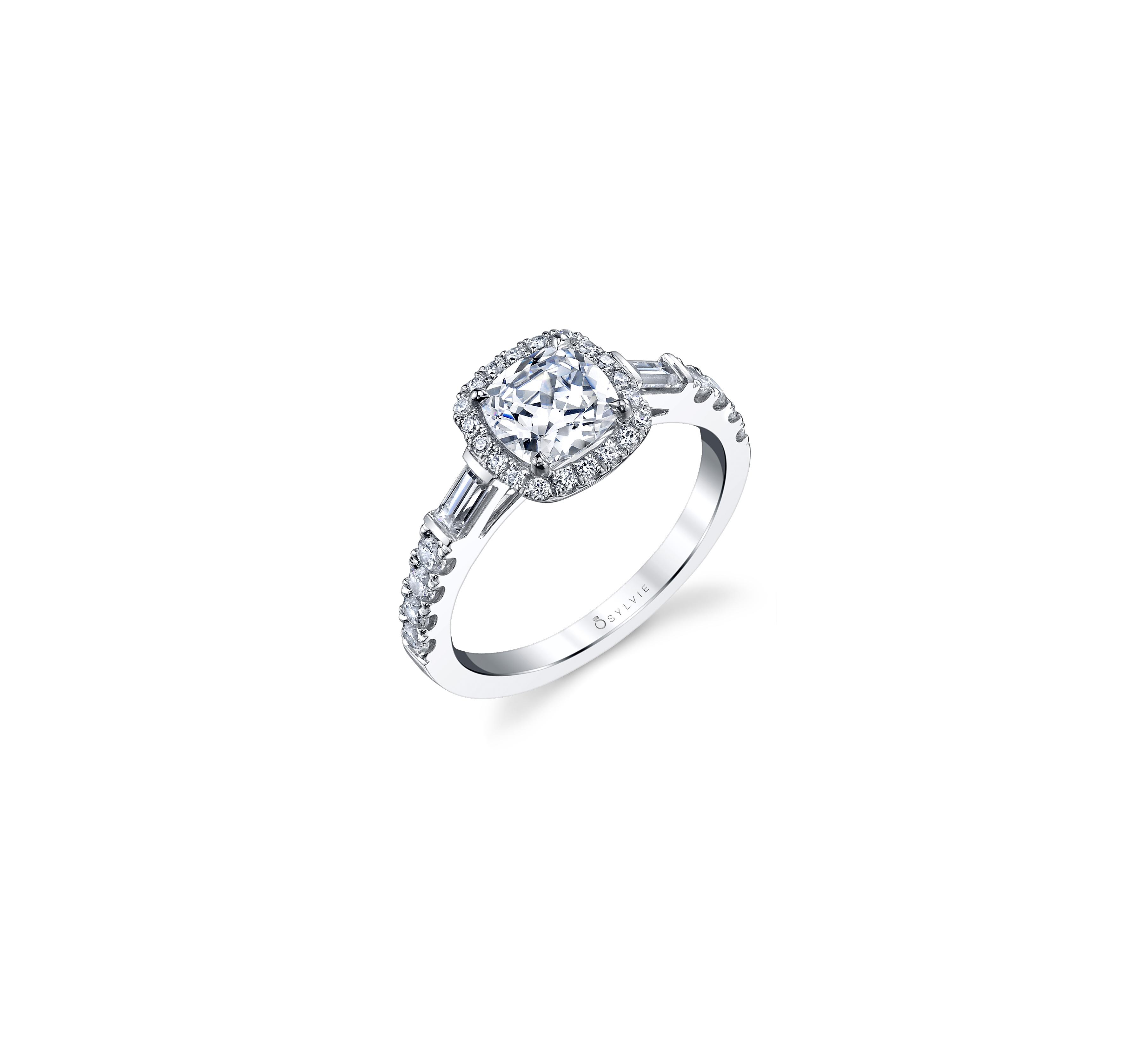 sylvie collection cushion cut engagement ring side baguette diamonds