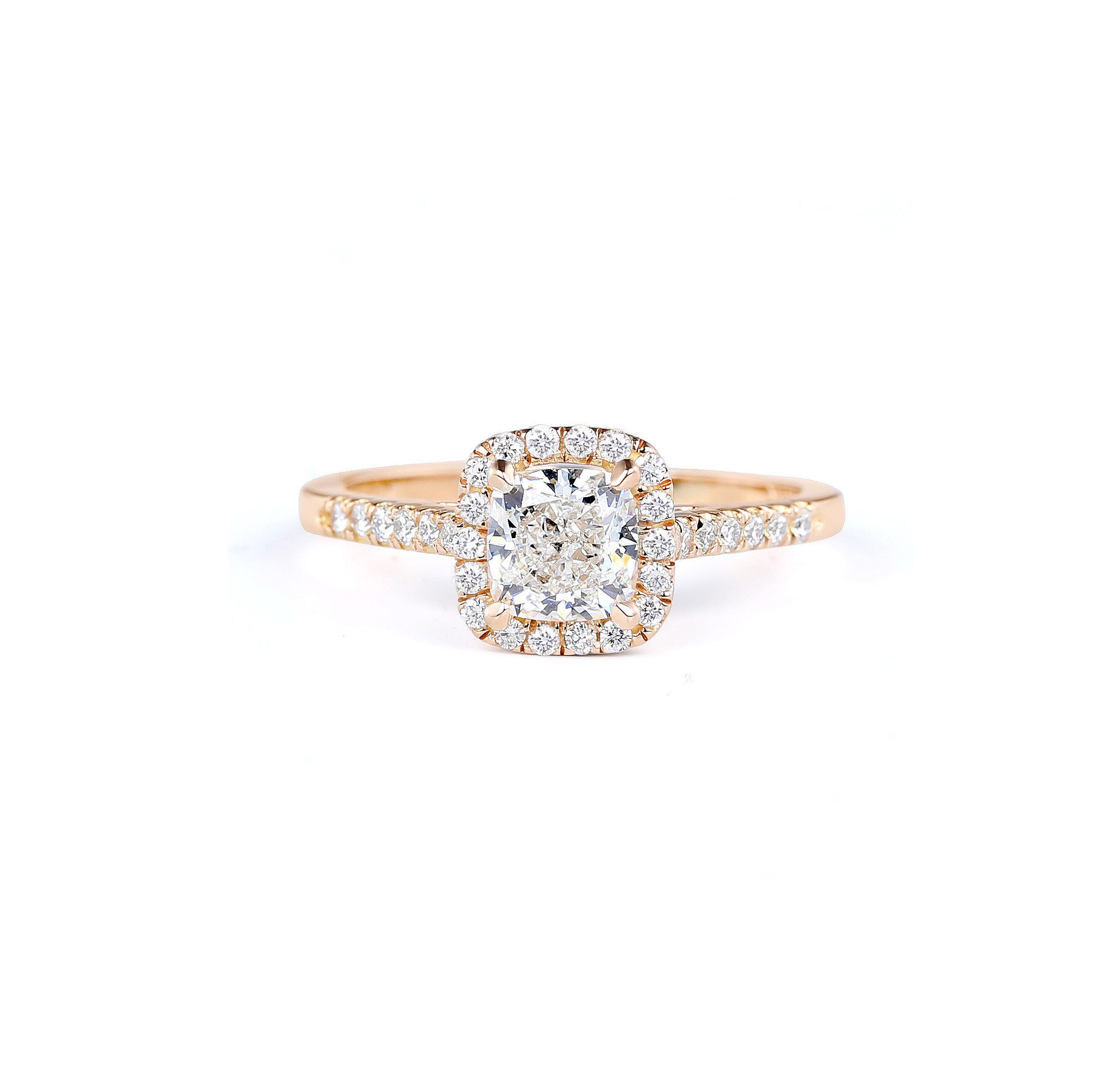 forevermark premier gem cushion cut engagement ring in rose gold