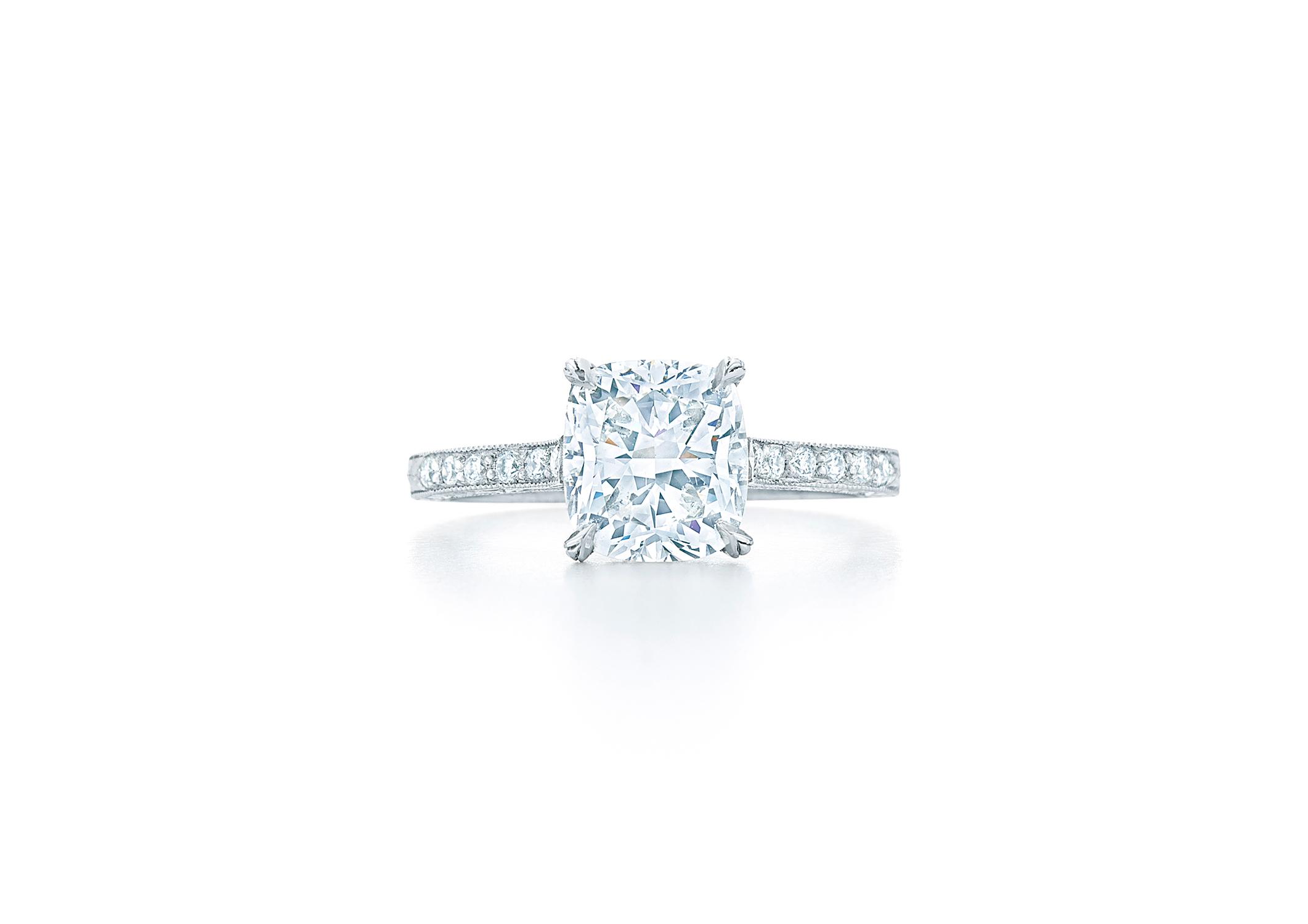 kwiat cushion cut diamond solitaire diamond shank engagement ring