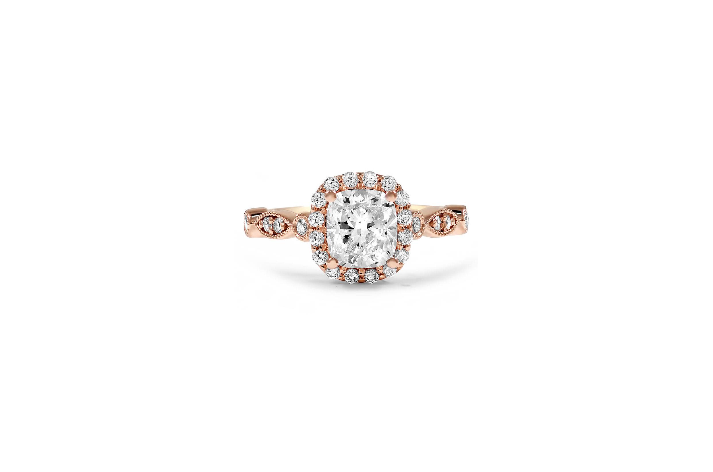 brilliant earth cushion cut diamond engagement ring rose gold tiara inspired