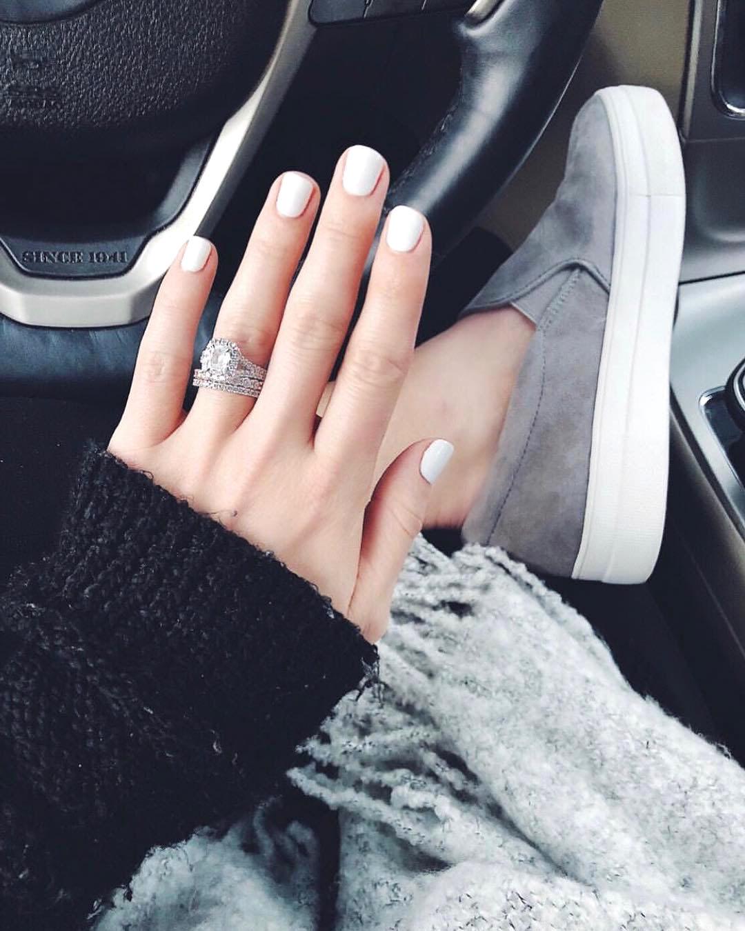 engagement ring selfie neutral monochromatic attire
