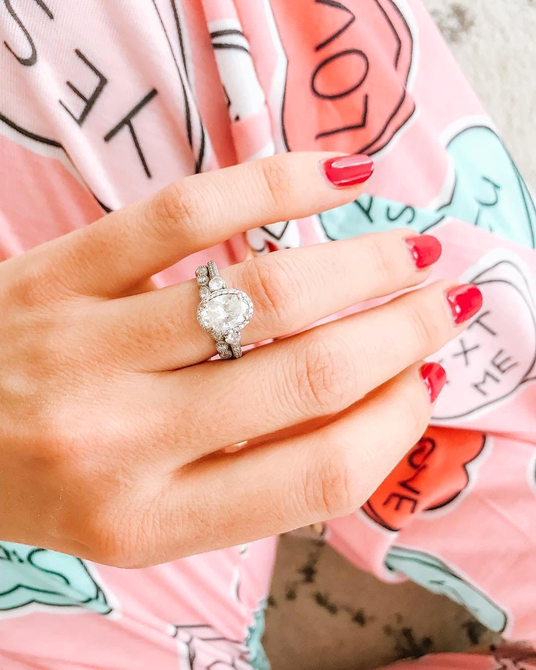 engagement ring selfie valentines day pajamas