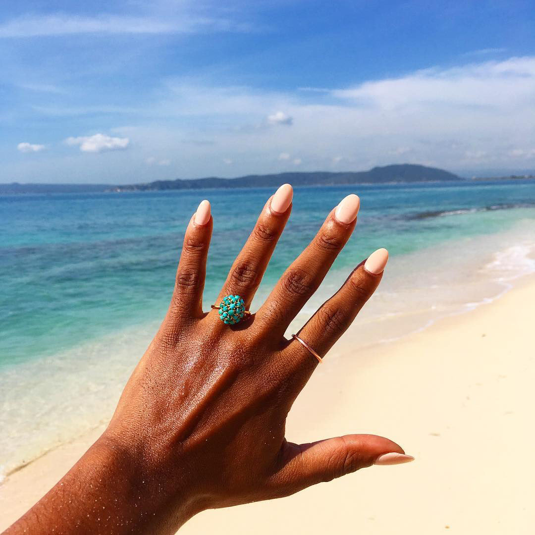 engagement ring selfie beach and turquoise ring