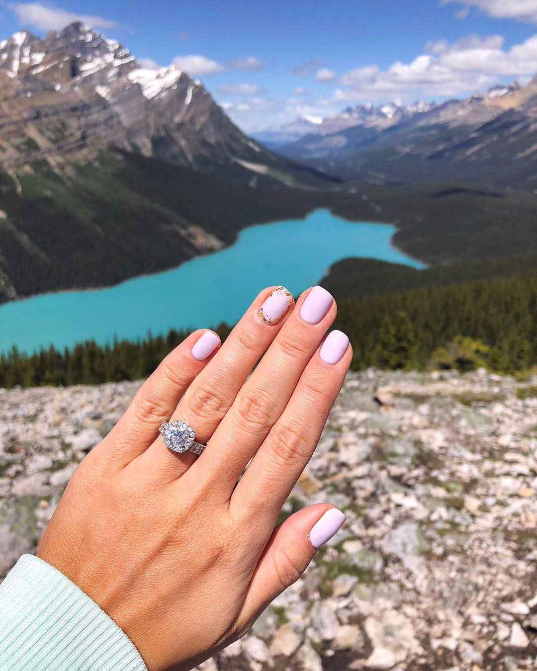 engagement ring selfie mountaintop