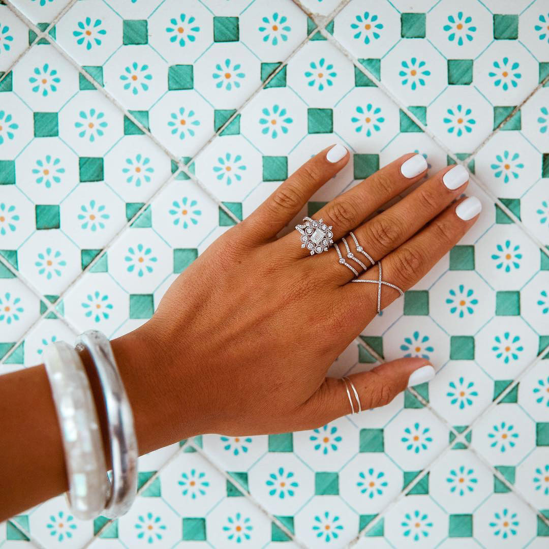 engagement ring selfie patterned turquoise tile