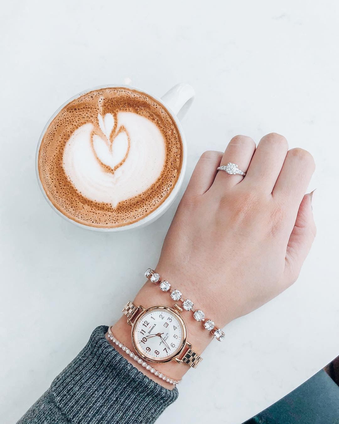 engagement ring selfie heart-shaped latte art