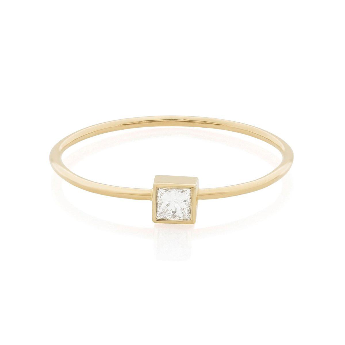 princess cut ring stone and strand