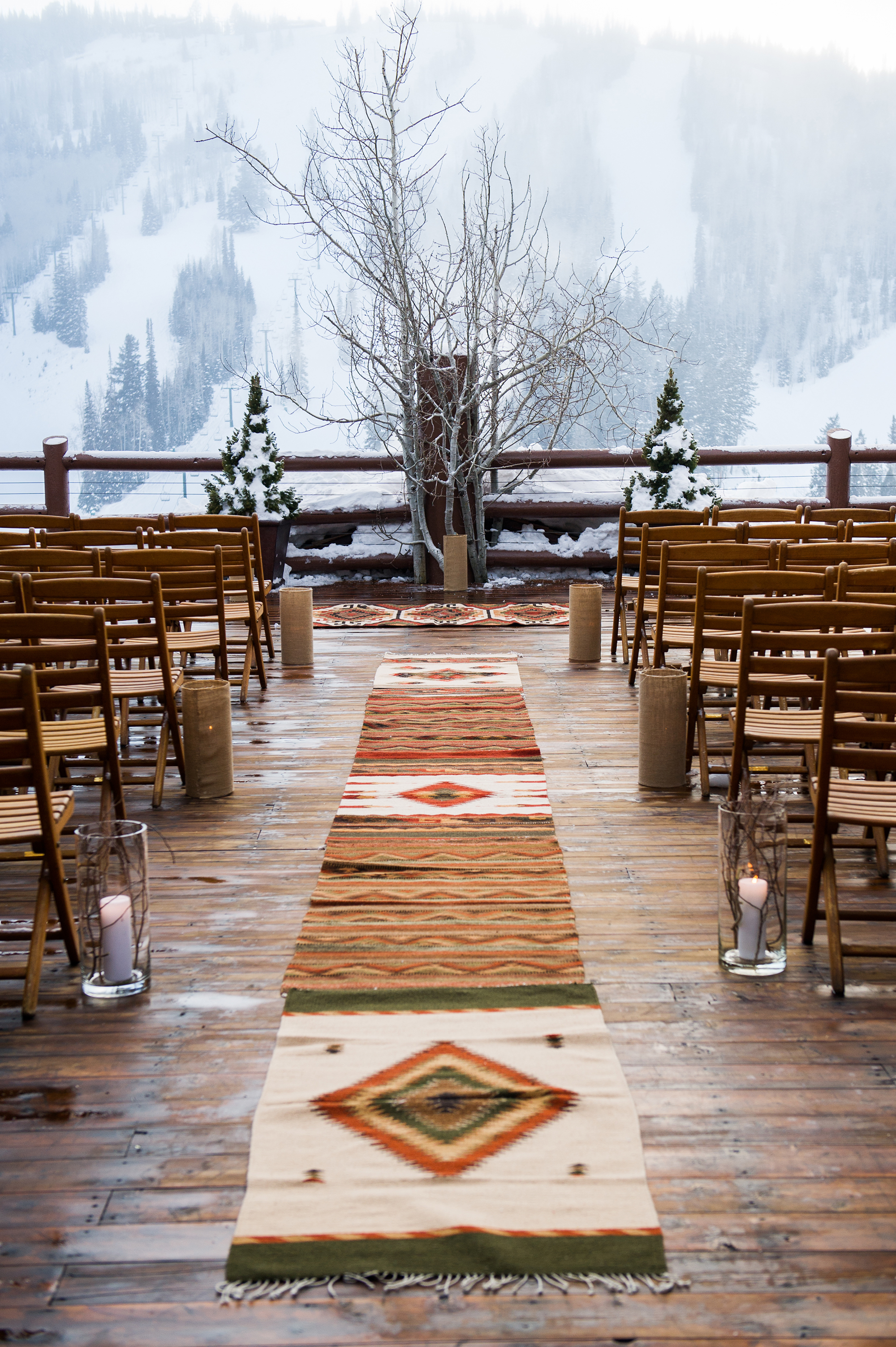 winter ceremony aisle with rugs