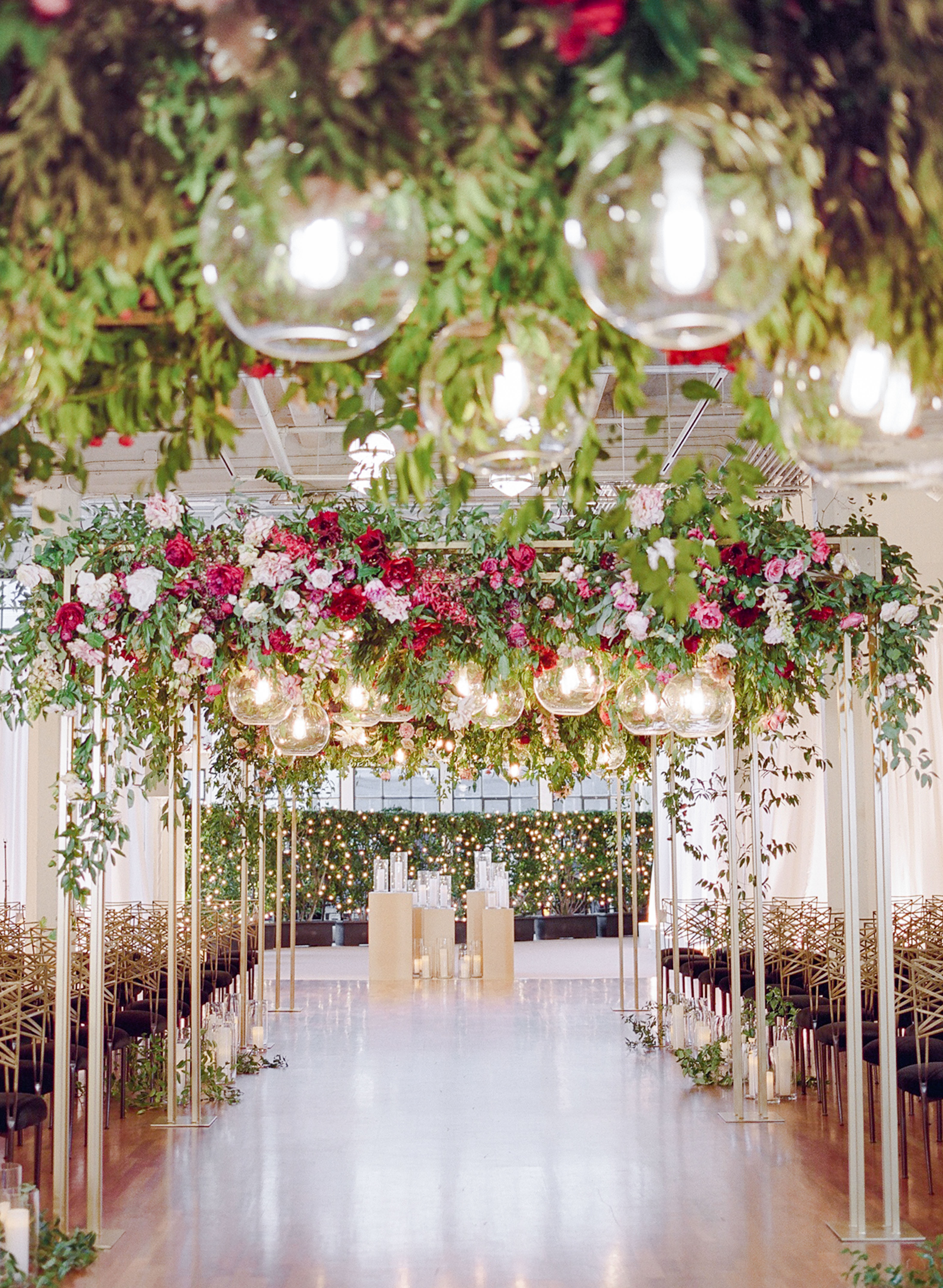 katie andre wedding ceremony flowers hanging