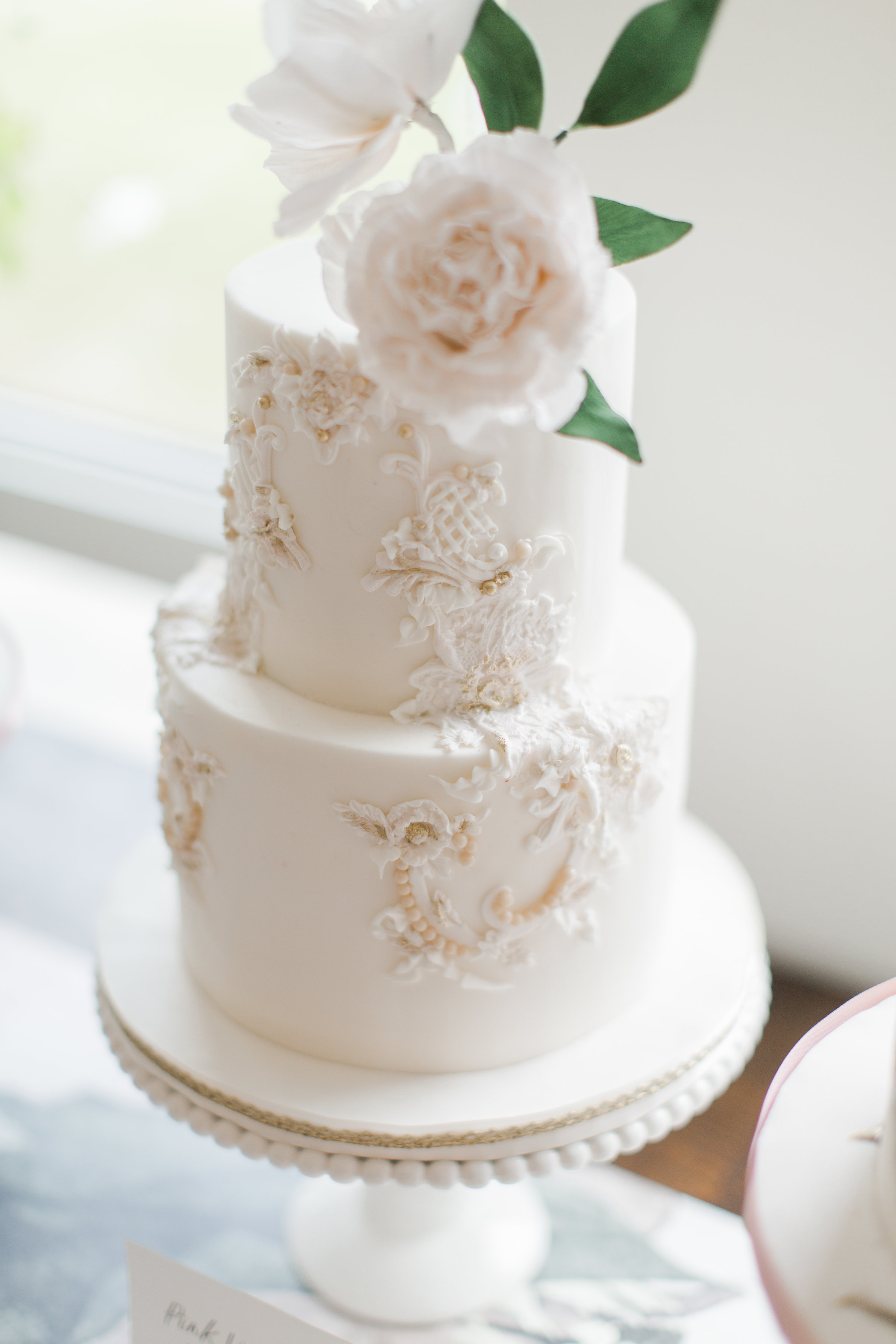 embroidered cake with flowers