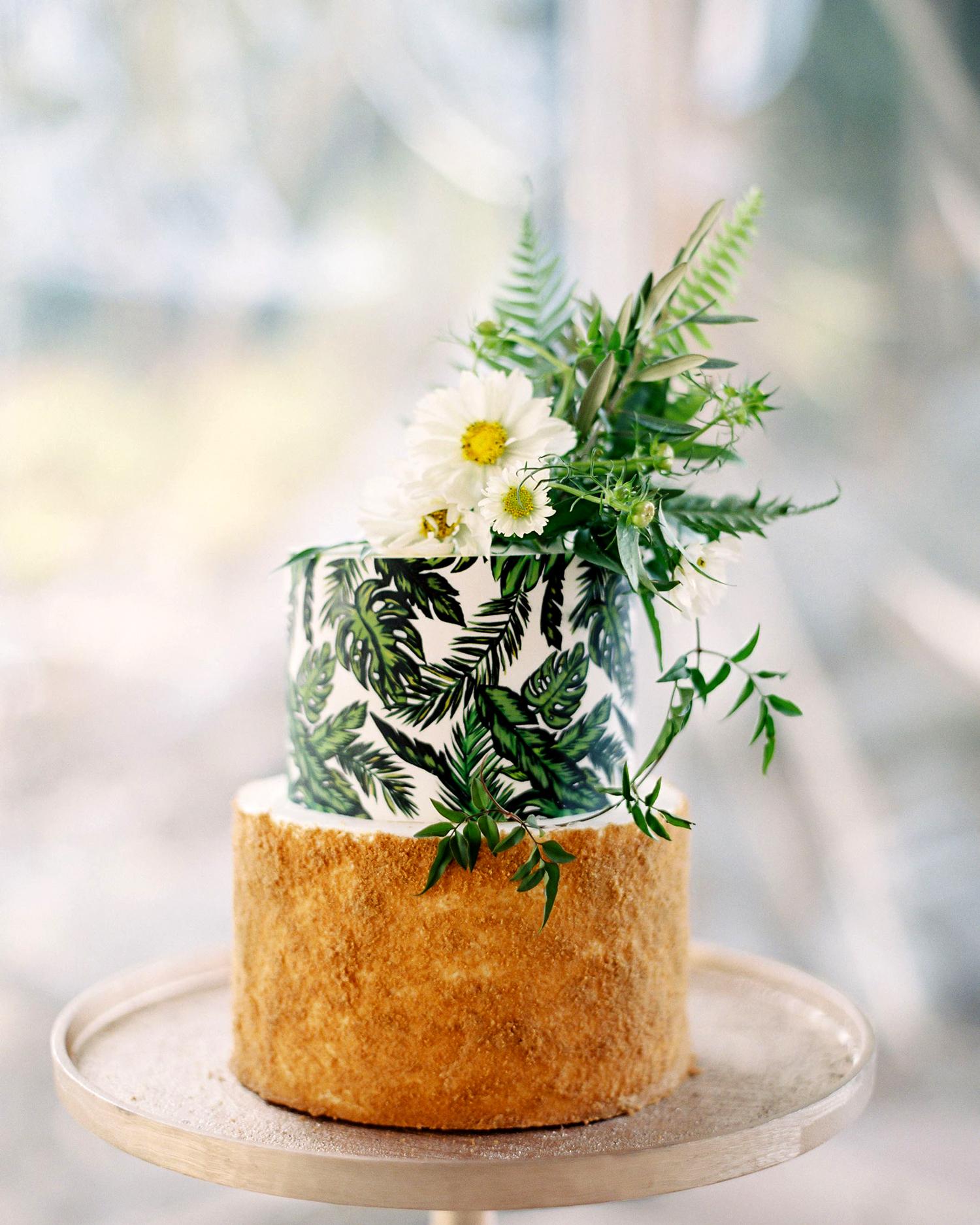 leaf print graham cracker crusted wedding cake