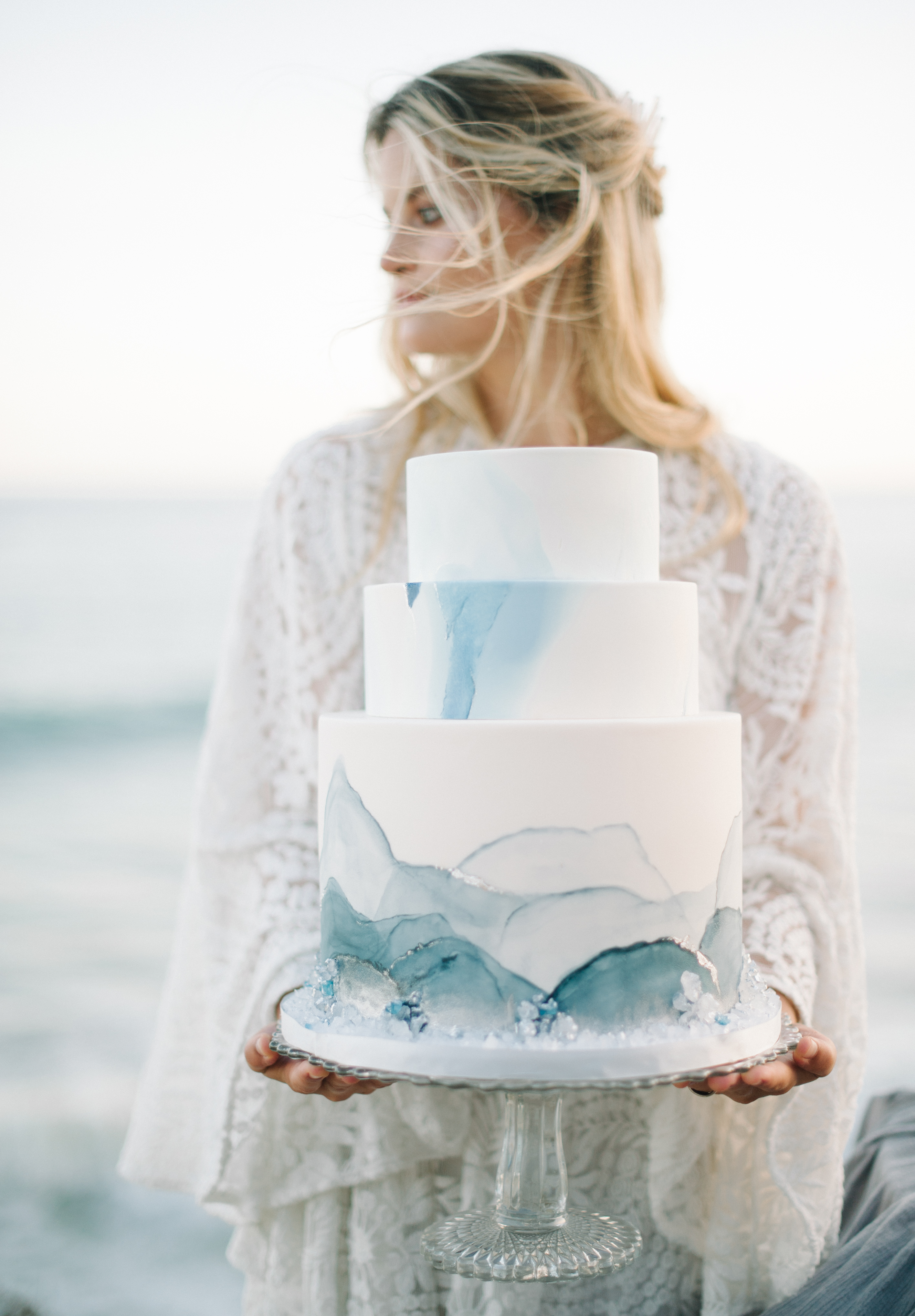Three-Tiered White Cake with Watercolor Details