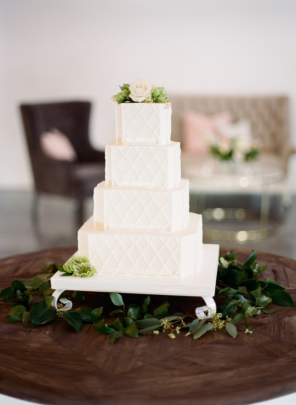 beveled edge wedding cake