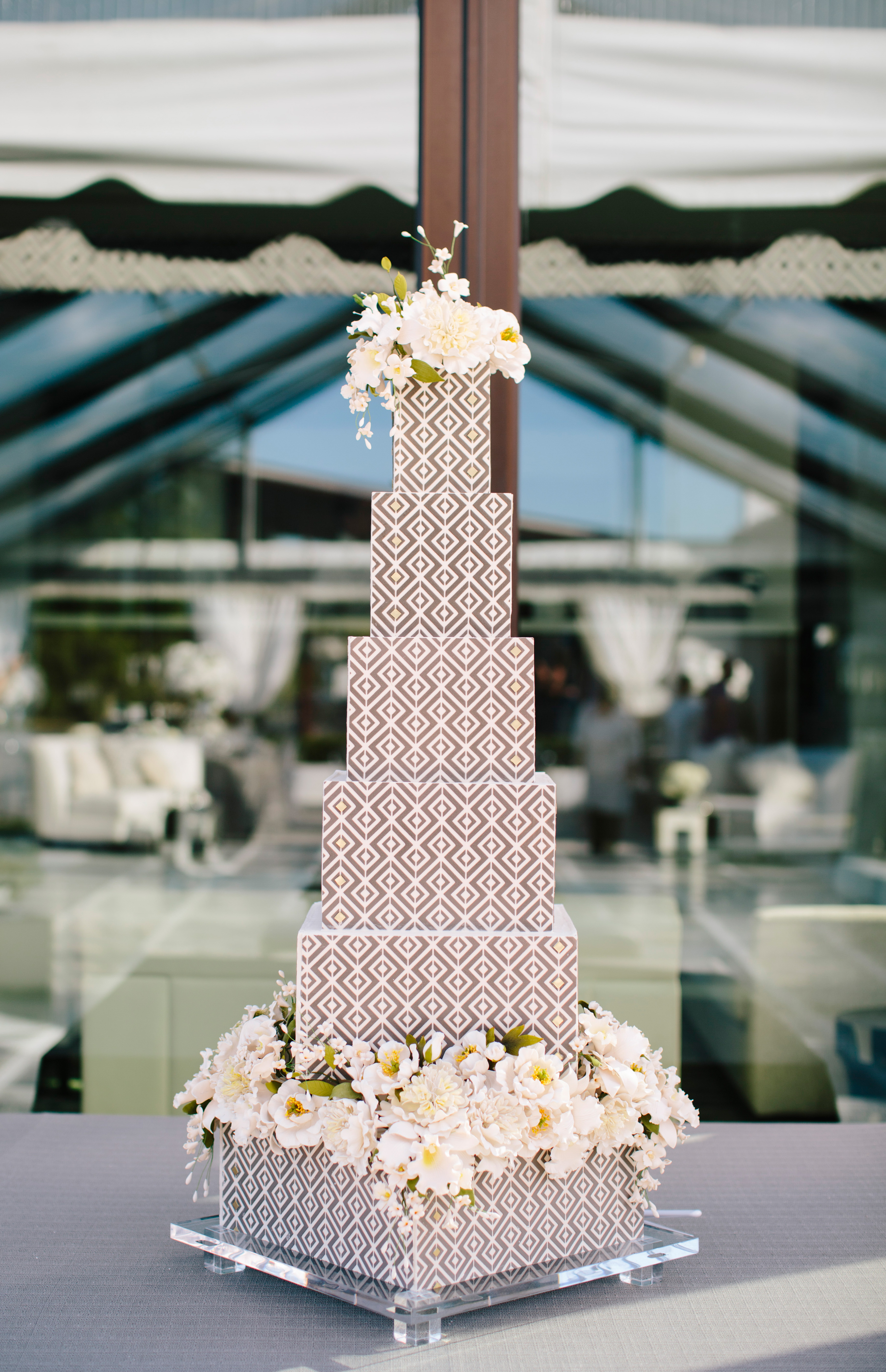 square stacked angled wedding cake