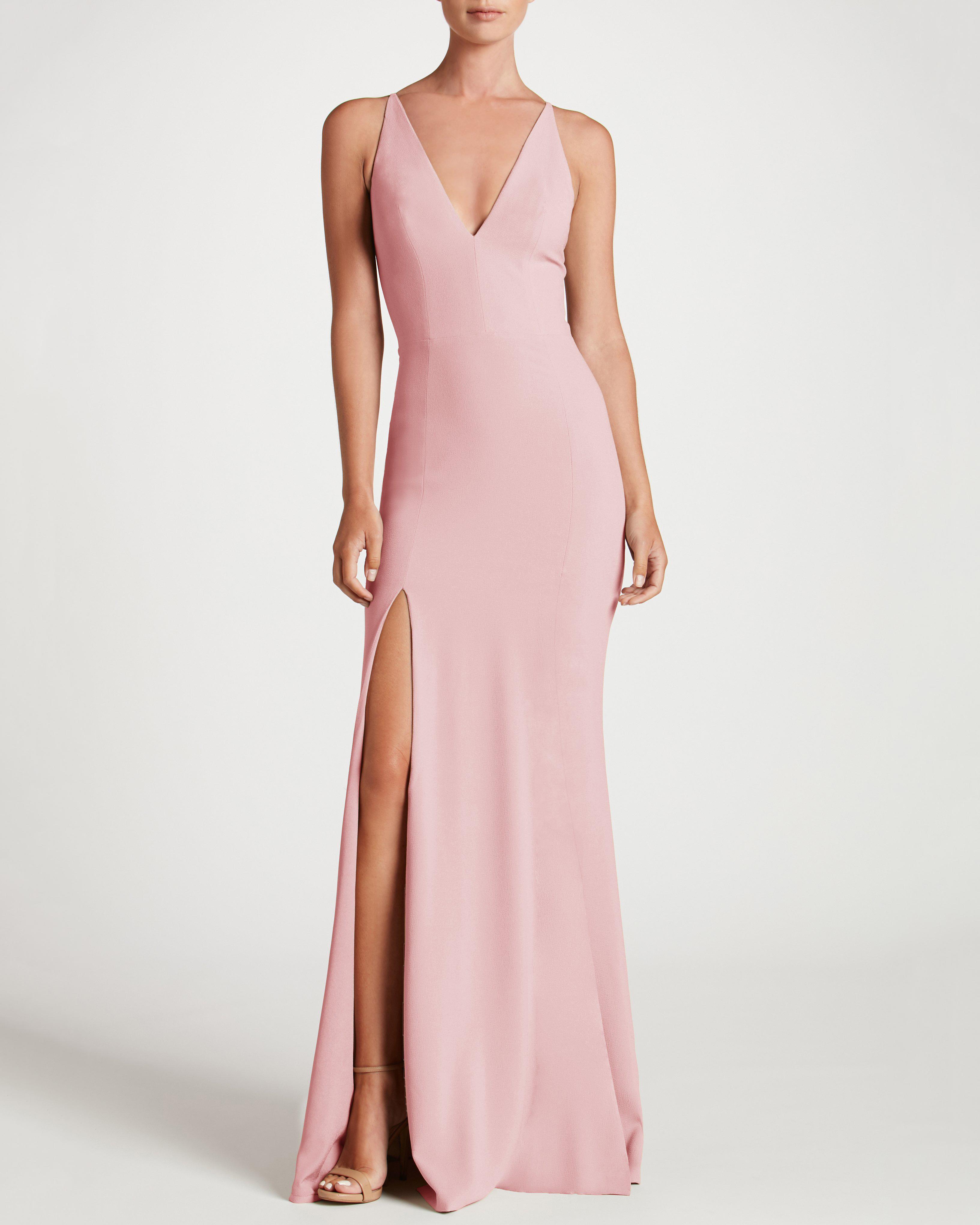 pink bridesmaids high slit v-neck dress