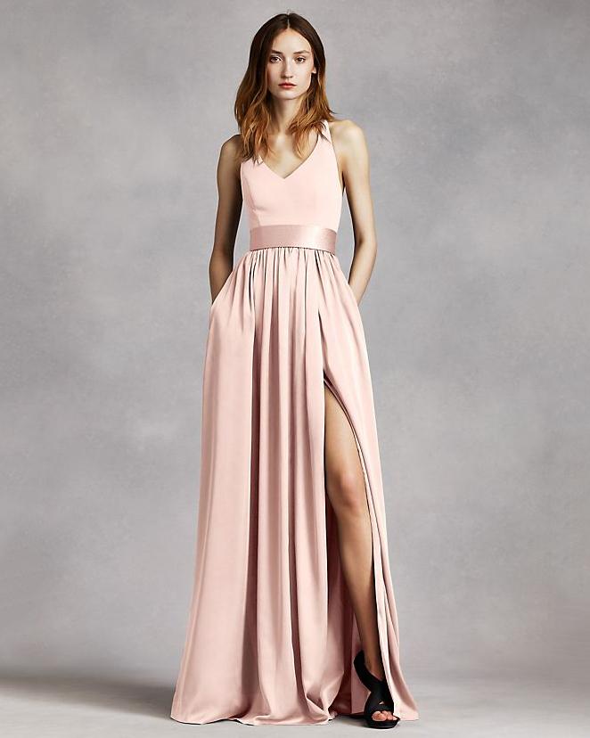 pink high slit bridesmaid v-neck dress