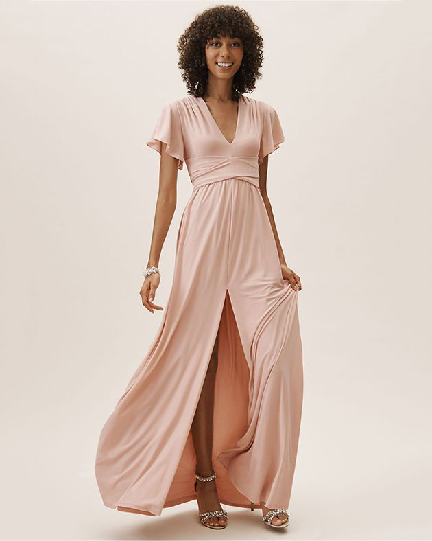 pink bridesmaids v-neck high slit dress