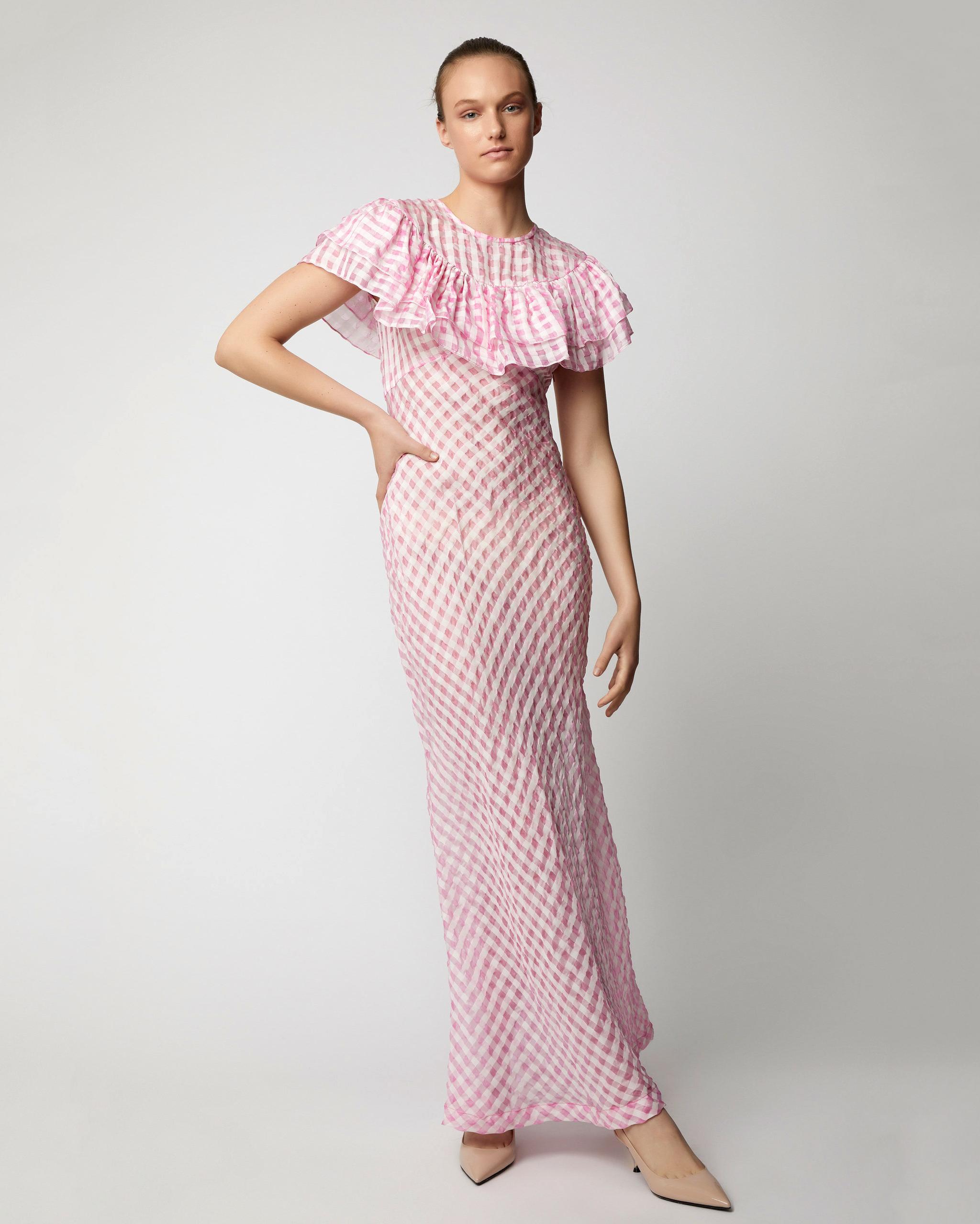 pink sheath bridesmaid ruffled dress